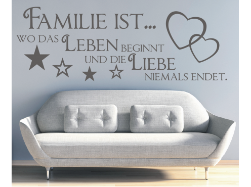 x189 wandtattoo spruch familie wo das leben beginnt liebe sticker wandaufkleber ebay. Black Bedroom Furniture Sets. Home Design Ideas