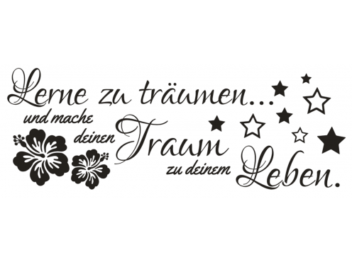 wandtattoo spruch lerne tr umen traum leben wandsticker. Black Bedroom Furniture Sets. Home Design Ideas