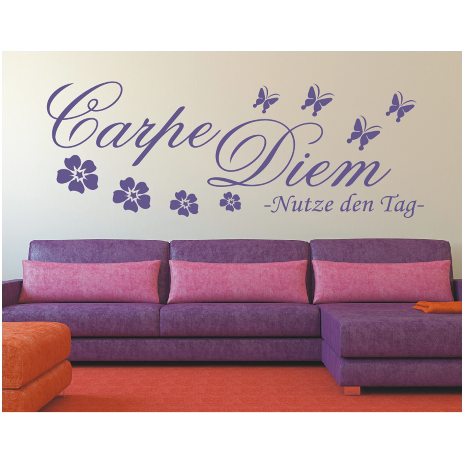 wandtattoo spruch carpe diem nutze den tag wandsticker. Black Bedroom Furniture Sets. Home Design Ideas