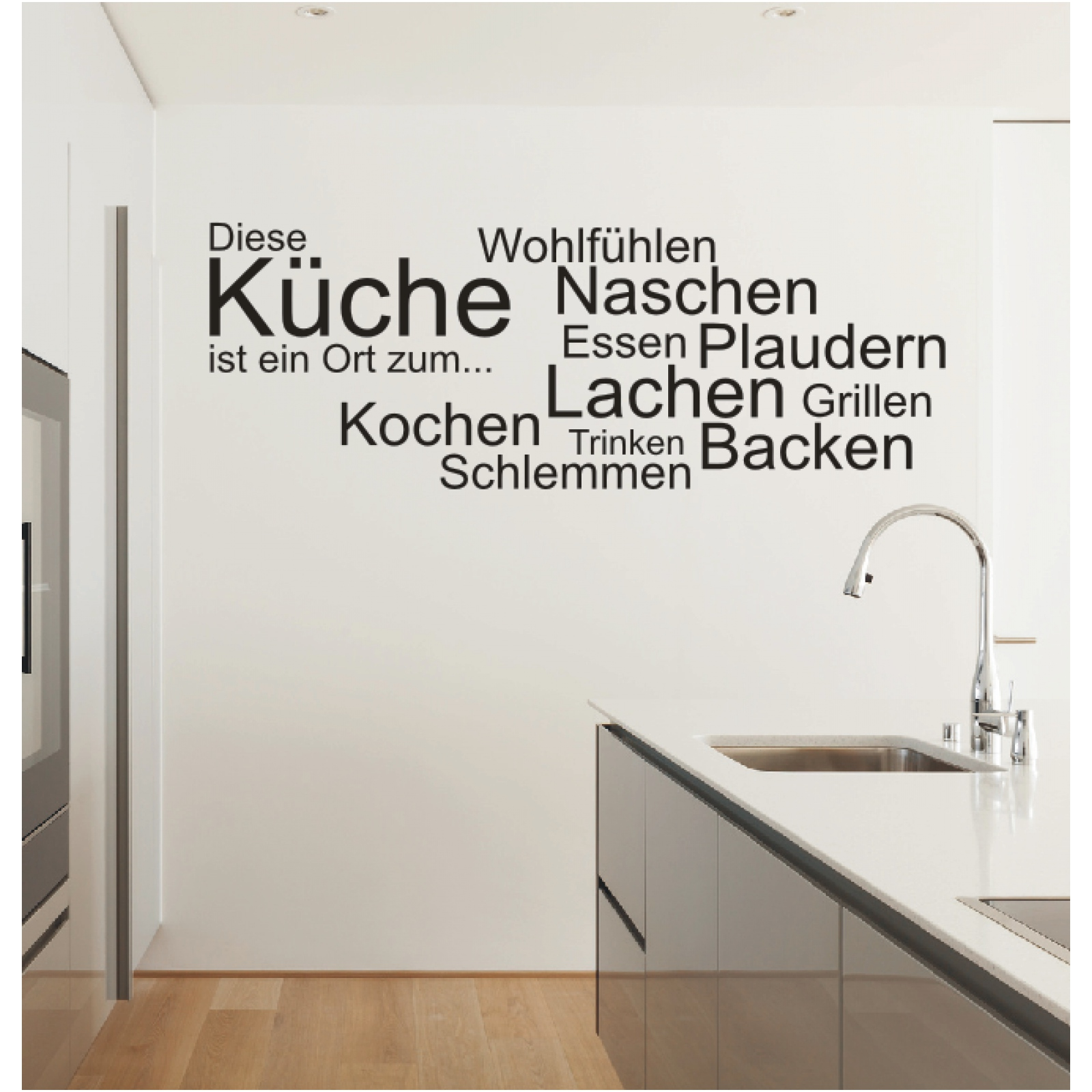 wandtattoo spruch k che ort kochen essen wandsticker wandaufkleber sticker ebay. Black Bedroom Furniture Sets. Home Design Ideas