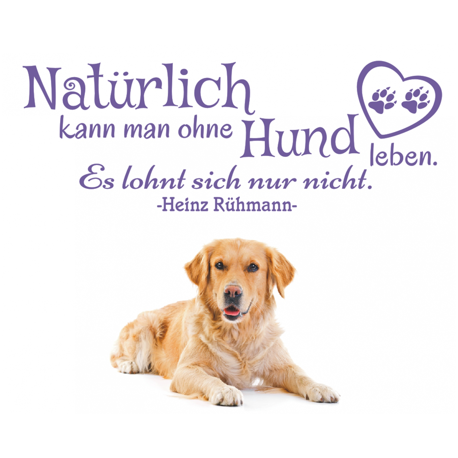 wandtattoo spruch nat rlich kann ohne hund leben wandaufkleber zitat sticker 0 ebay. Black Bedroom Furniture Sets. Home Design Ideas
