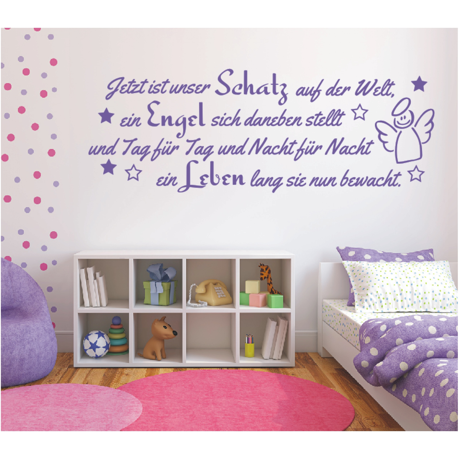 wandtattoo spruch m dchen geburt engel kind leben. Black Bedroom Furniture Sets. Home Design Ideas