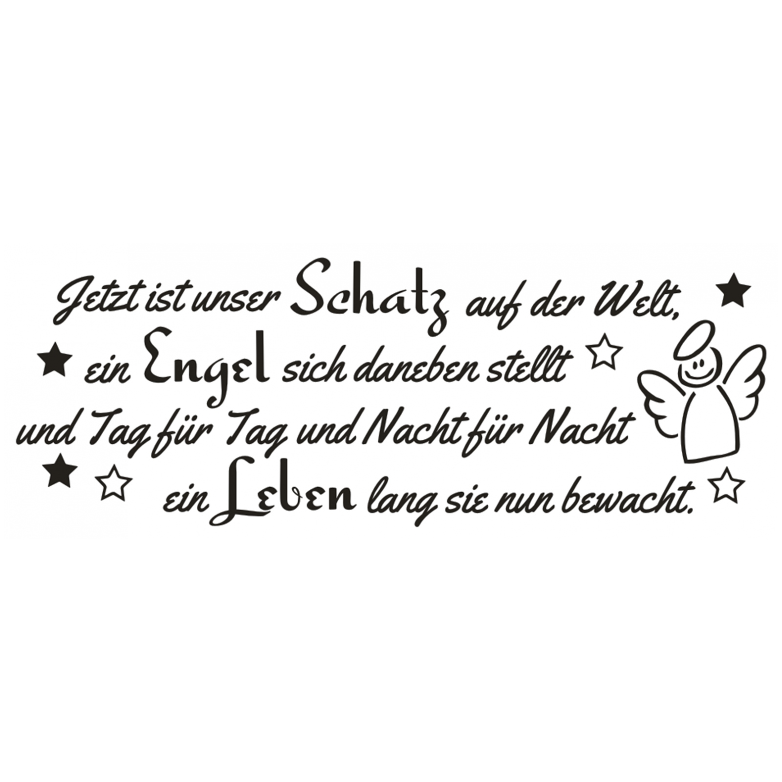 wandtattoo spruch m dchen geburt engel kind leben wandsticker wandaufkleber ebay. Black Bedroom Furniture Sets. Home Design Ideas