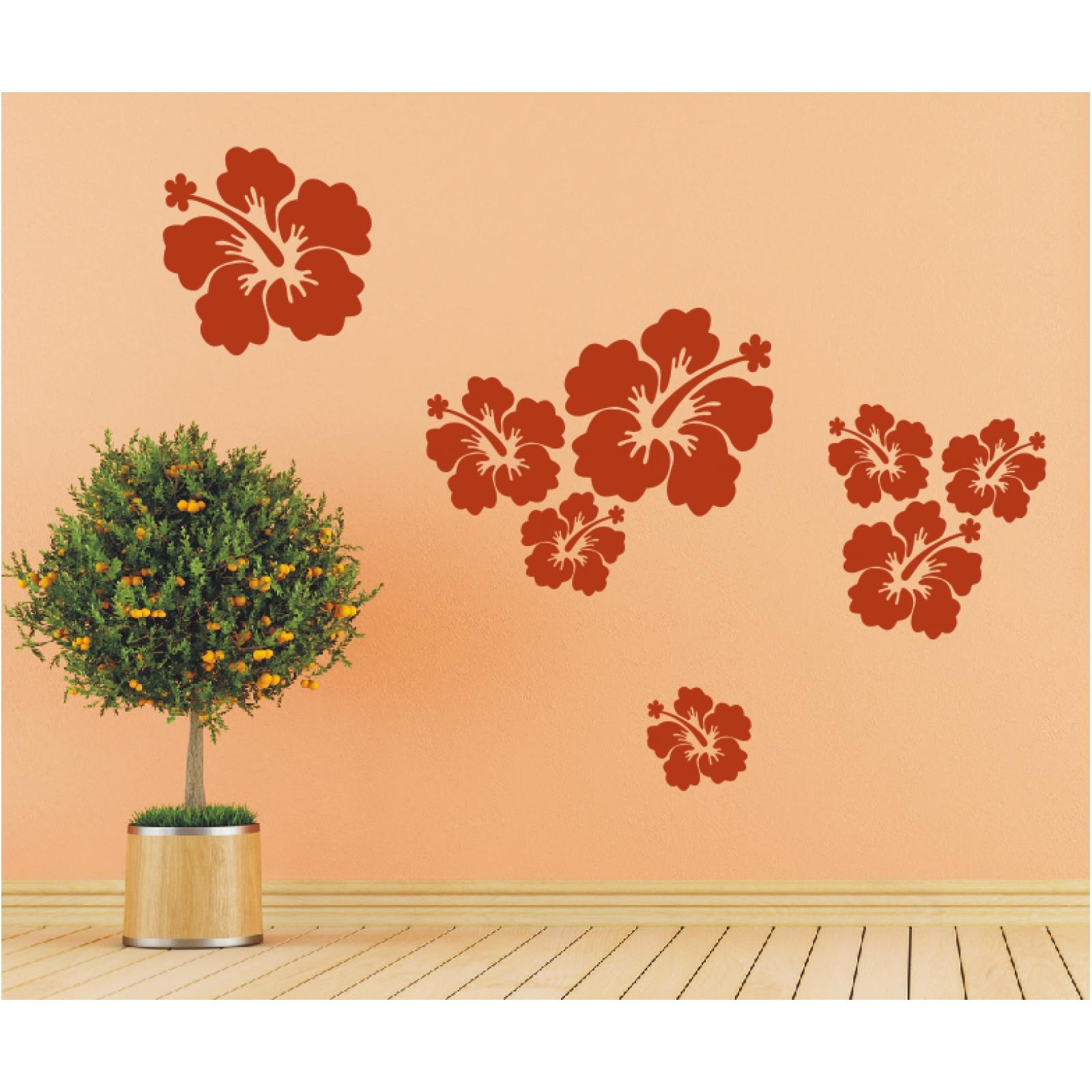 8-teiliges-Set-WANDTATTOO-Blueten-Hibiskus-Bluete-Blumen-Wandaufkleber-Sticker Indexbild 3