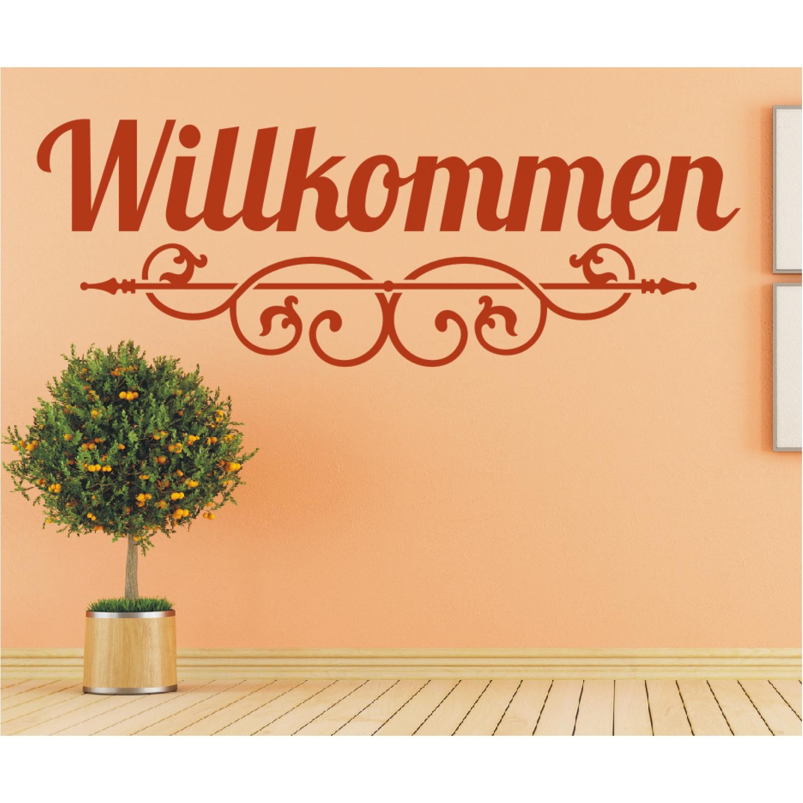 Wandtattoo Spruch Willkommen Flur Ornament Sticker Wandaufkleber Wandsticker