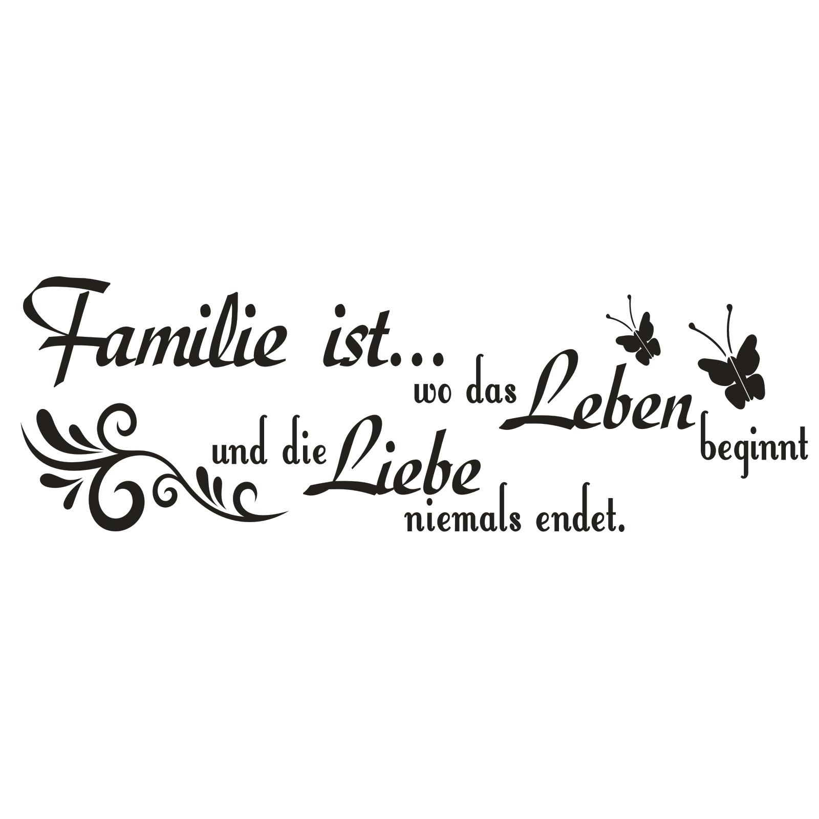 G576 Spruch Wandtattoo  Familie ist wo das Leben Liebe Aufkleber Zitat Sprüche 1