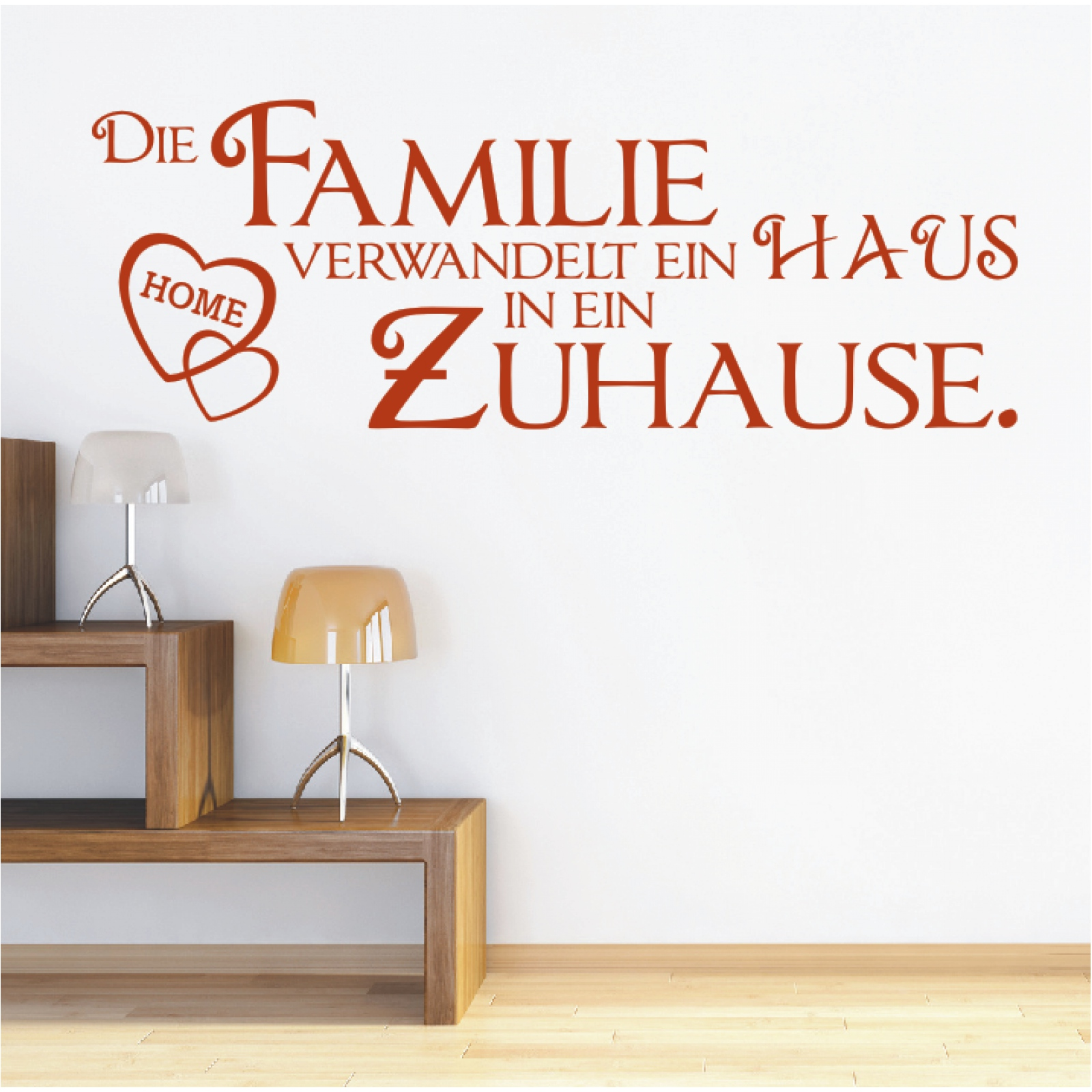 wandtattoo spruch die familie verwandelt haus in zuhause zitat wandaufkleber ebay. Black Bedroom Furniture Sets. Home Design Ideas