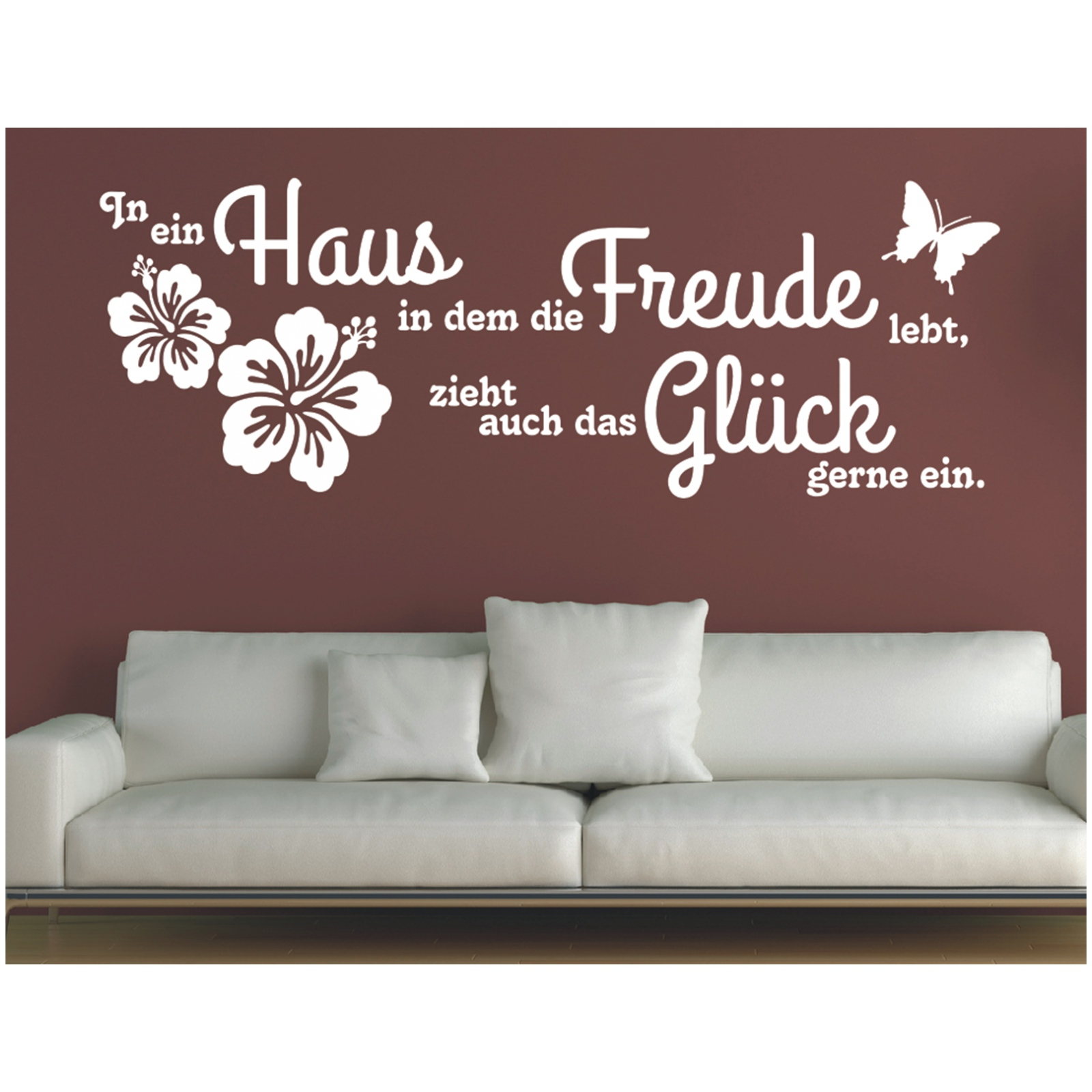 Wandtattoo-Spruch-In-ein-Haus-Glueck-Freude-Wandaufkleber-Aufkleber-Sticker