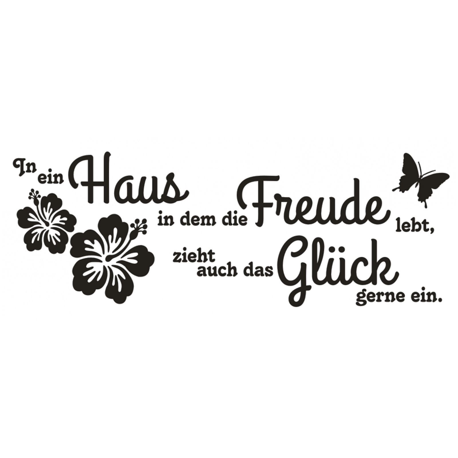 Wandtattoo-Spruch-In-ein-Haus-Glueck-Freude-Wandaufkleber-Aufkleber-Sticker Indexbild 2