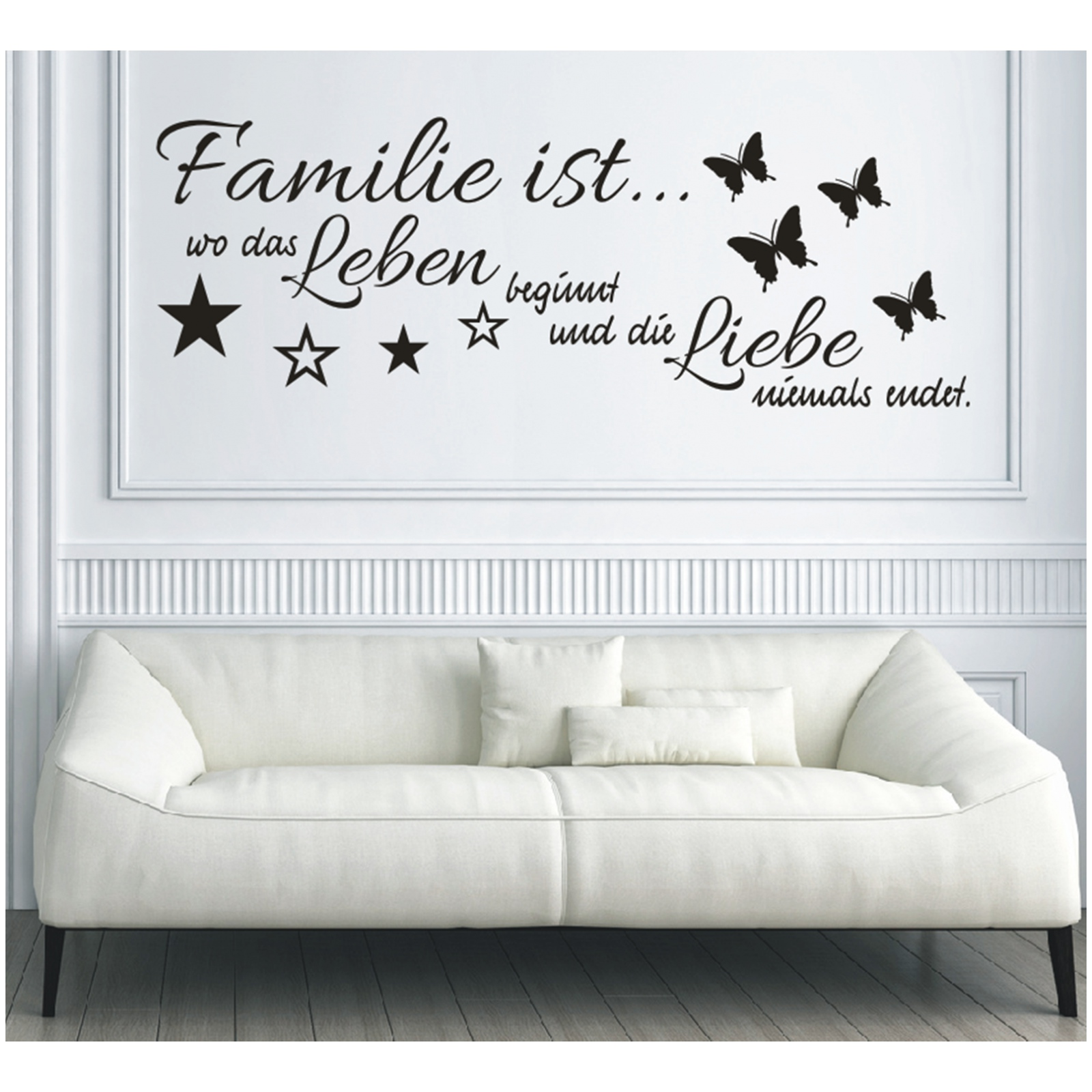x182 wandtattoo spruch familie ist wo leben beginnt und die liebe wandaufkleber ebay. Black Bedroom Furniture Sets. Home Design Ideas