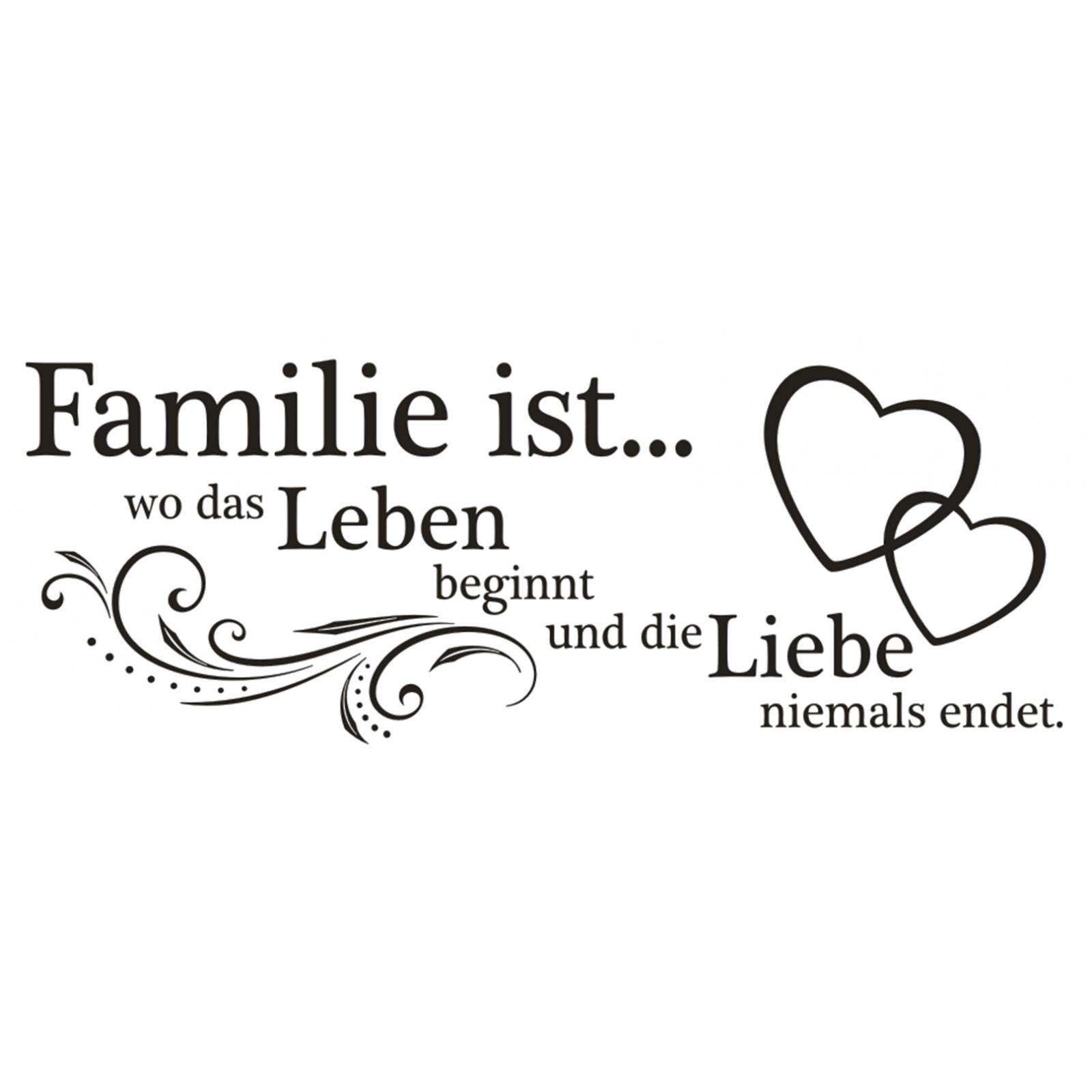 X184 Wandtattoo Spruch Familie Wo Das Leben Beginnt Und Die Liebe