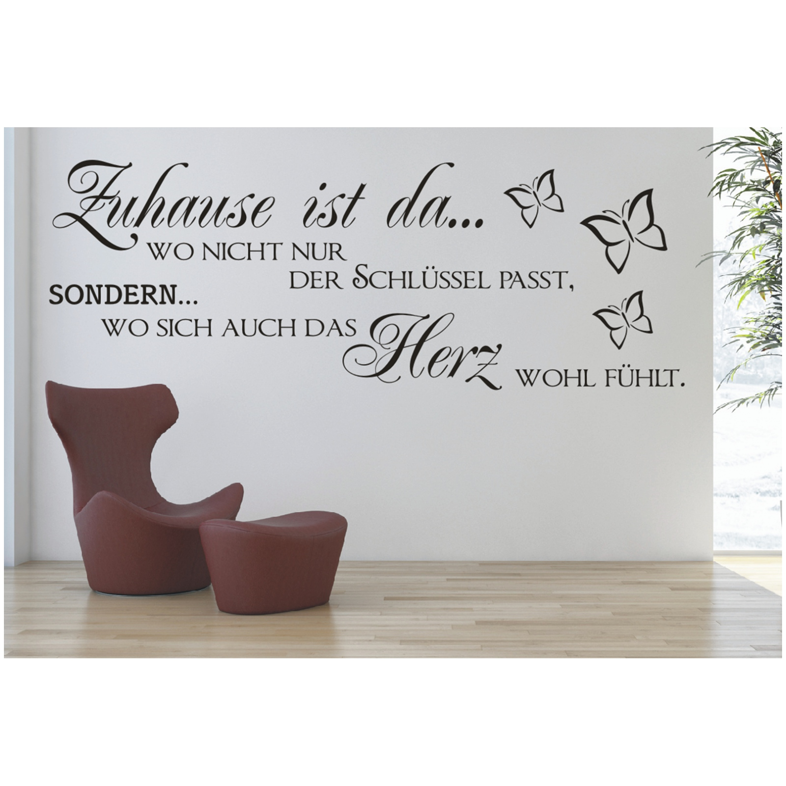wandtattoo spruch zuhause schl ssel herz wandsticker. Black Bedroom Furniture Sets. Home Design Ideas