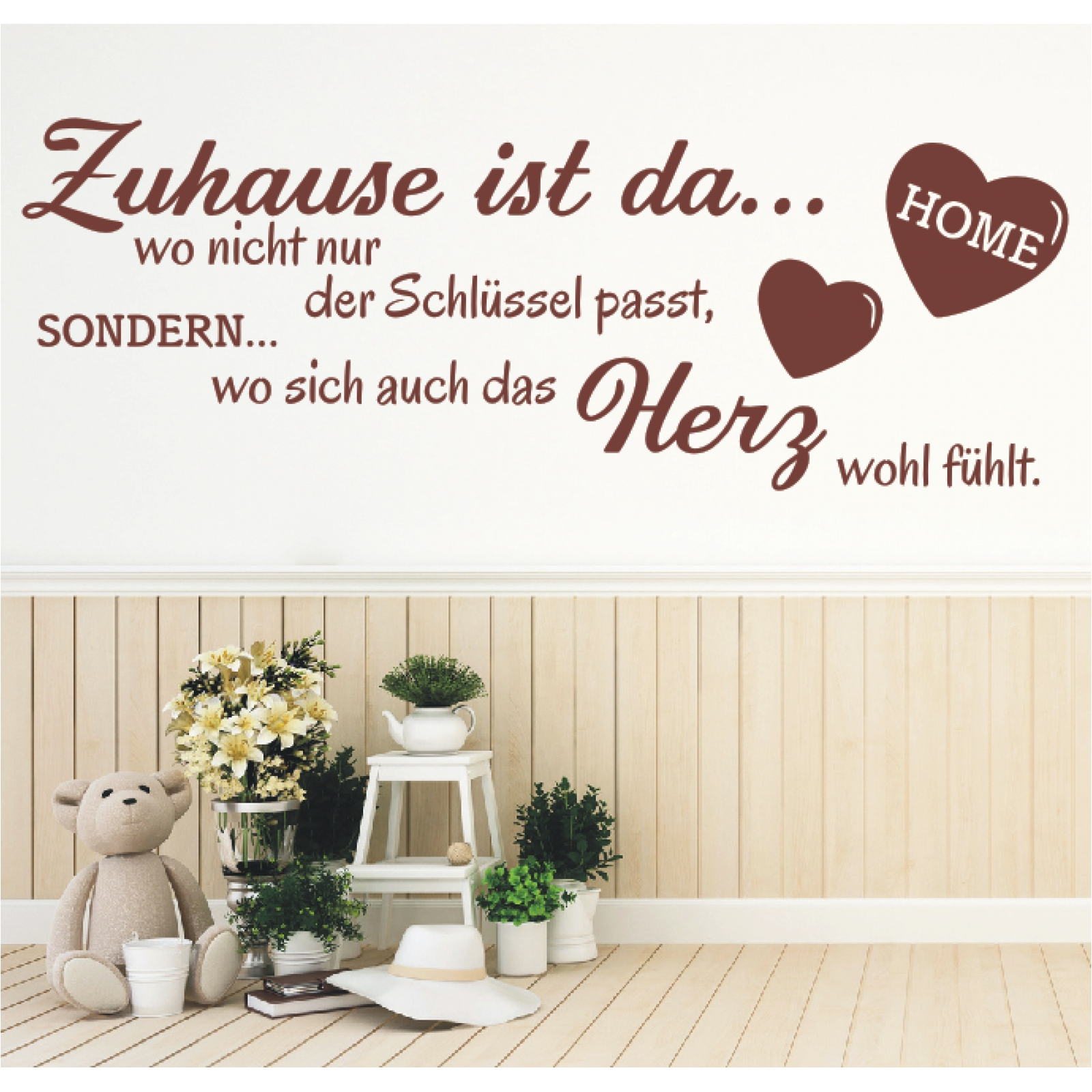 wandtattoo spruch zuhause schl ssel herz wandsticker sticker wandaufkleber 1 ebay. Black Bedroom Furniture Sets. Home Design Ideas