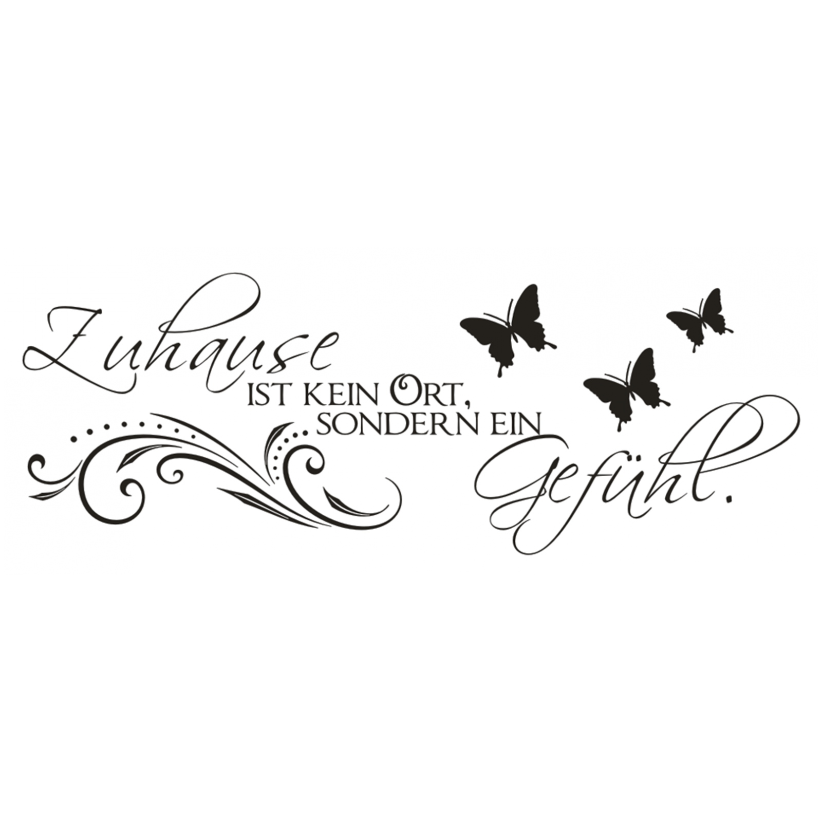 wandtattoo spruch zuhause kein ort gef hl wandsticker sticker wandaufkleber 4 ebay. Black Bedroom Furniture Sets. Home Design Ideas