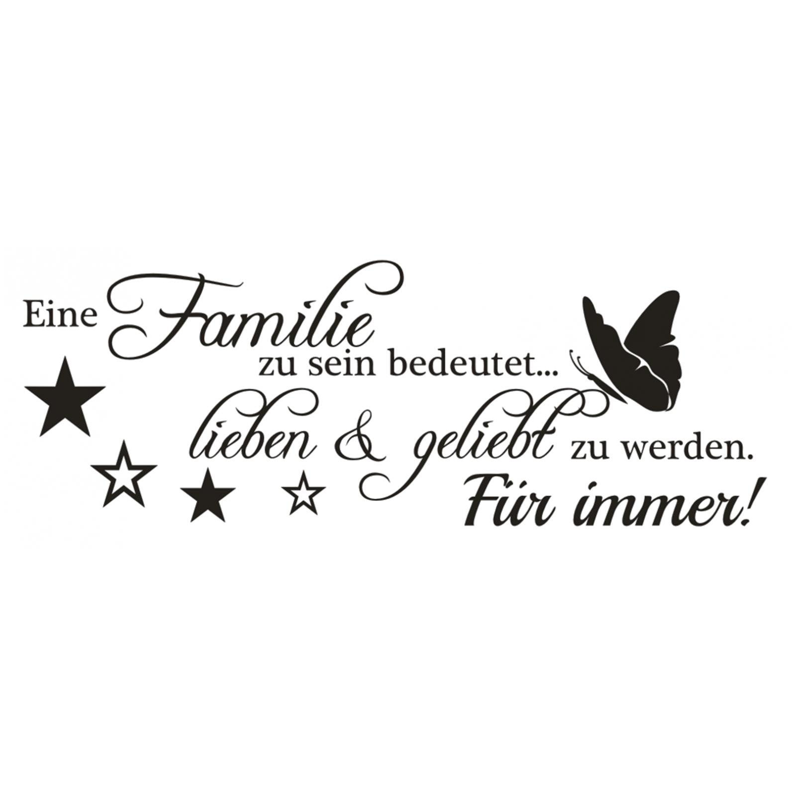 Wandtattoo Spruch , Familie lieben & geliebt Wandsticker