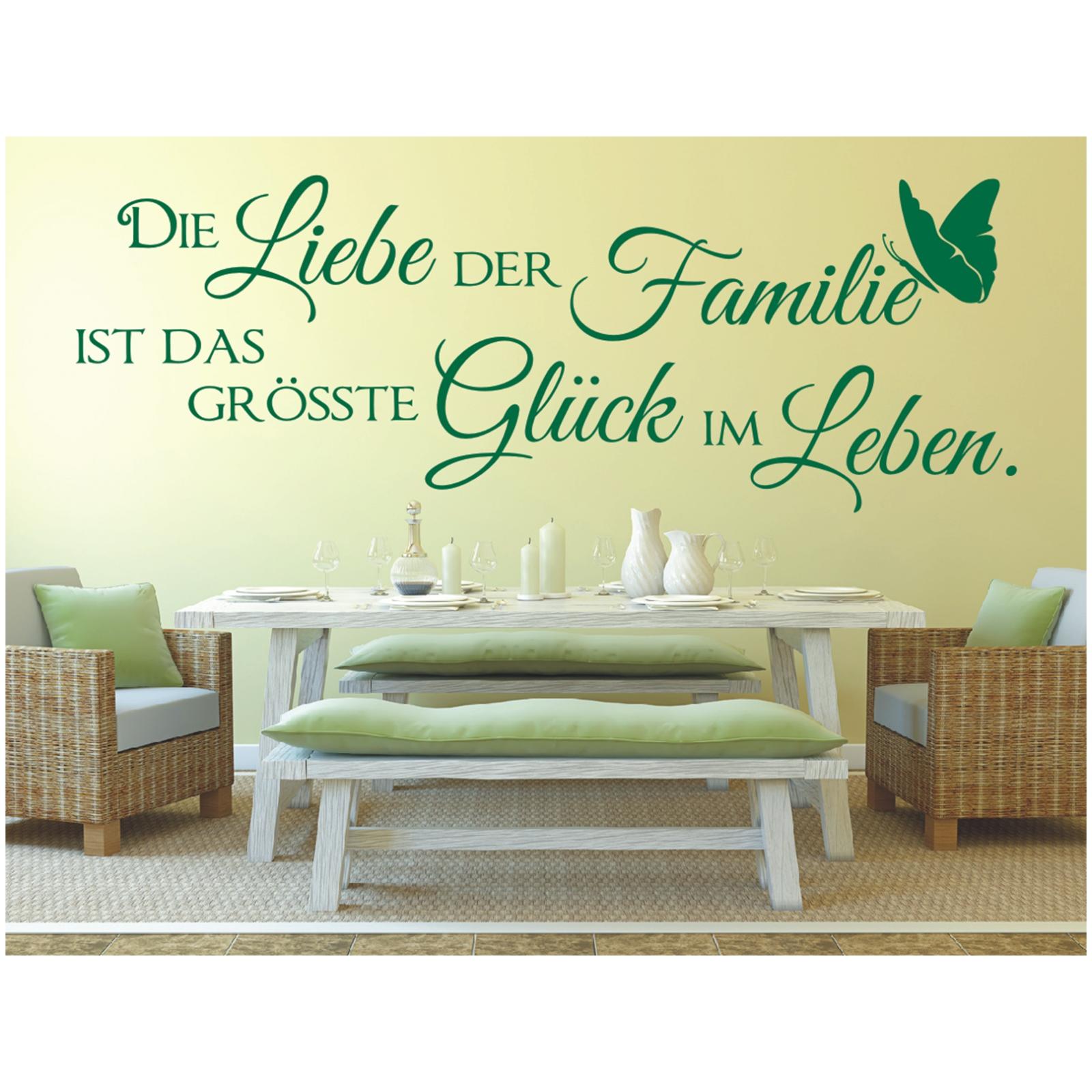 x374 wandtattoo spruch die liebe der familie gl ck leben sticker wandaufkleber ebay. Black Bedroom Furniture Sets. Home Design Ideas