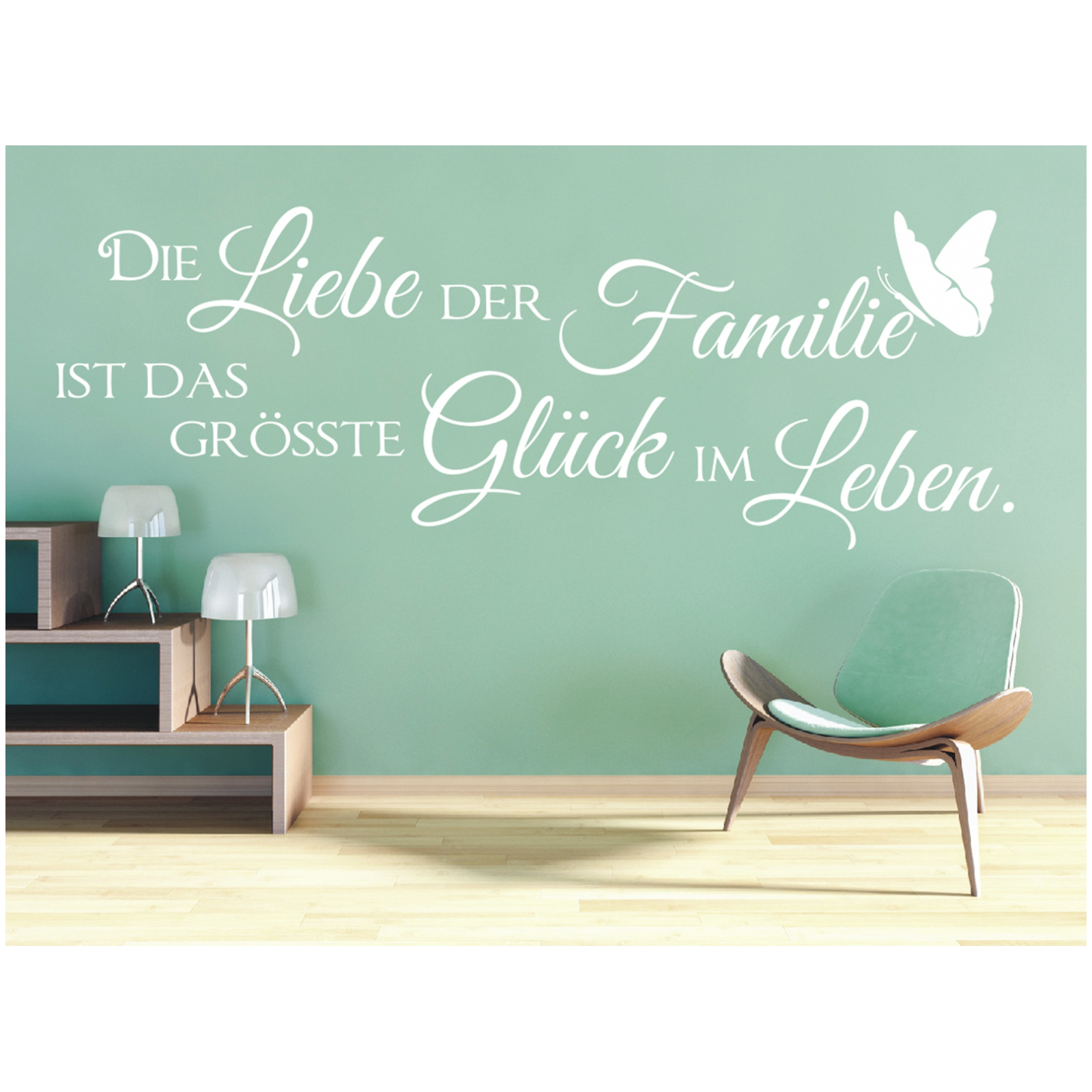 x374 wandtattoo spruch die liebe der familie gl ck leben sticker wandaufkleber ebay. Black Bedroom Furniture Sets. Home Design Ideas