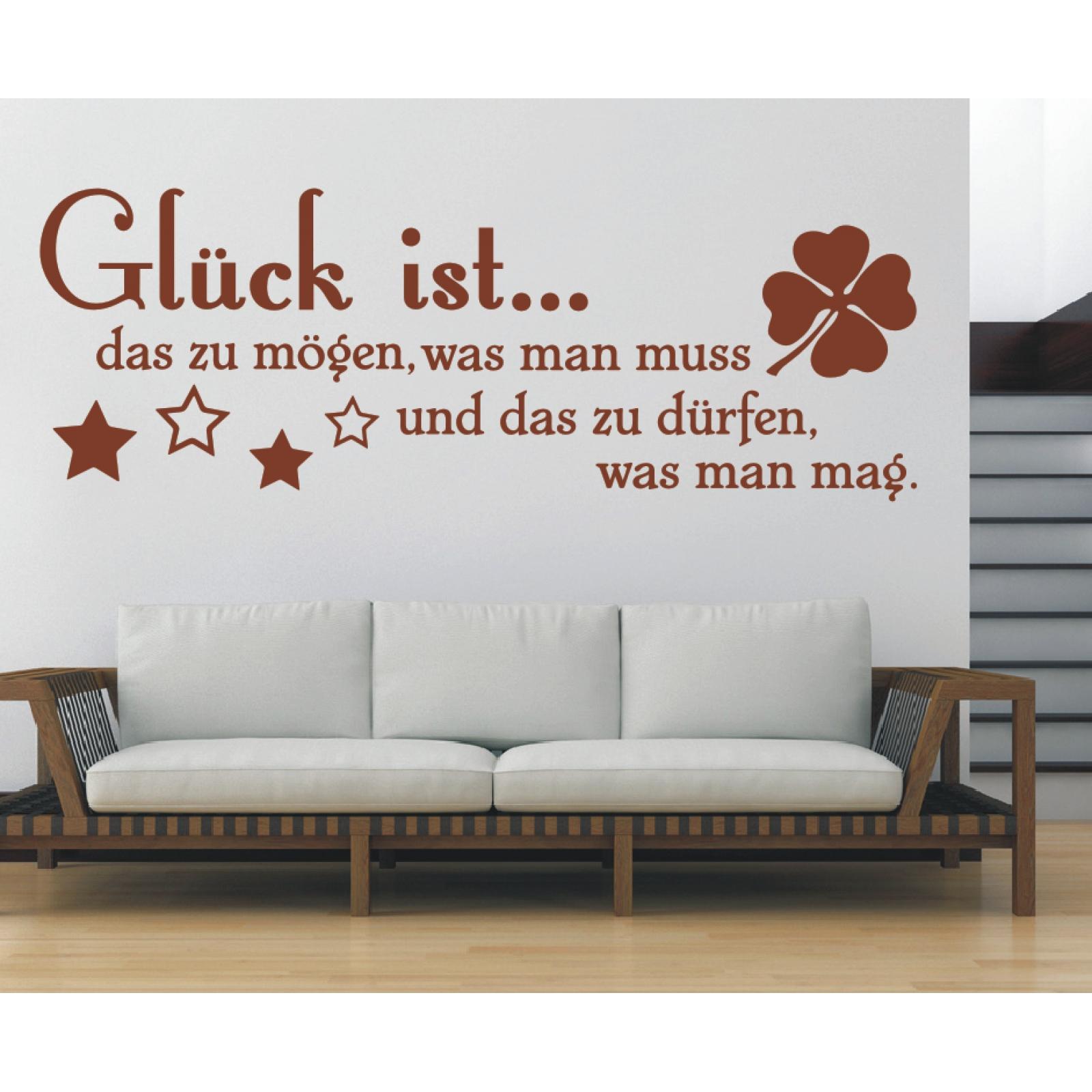Spruch-WANDTATTOO-Glueck-ist-moegen-was-muss-Wandsticker-Wandaufkleber-Sticker-3 Indexbild 3
