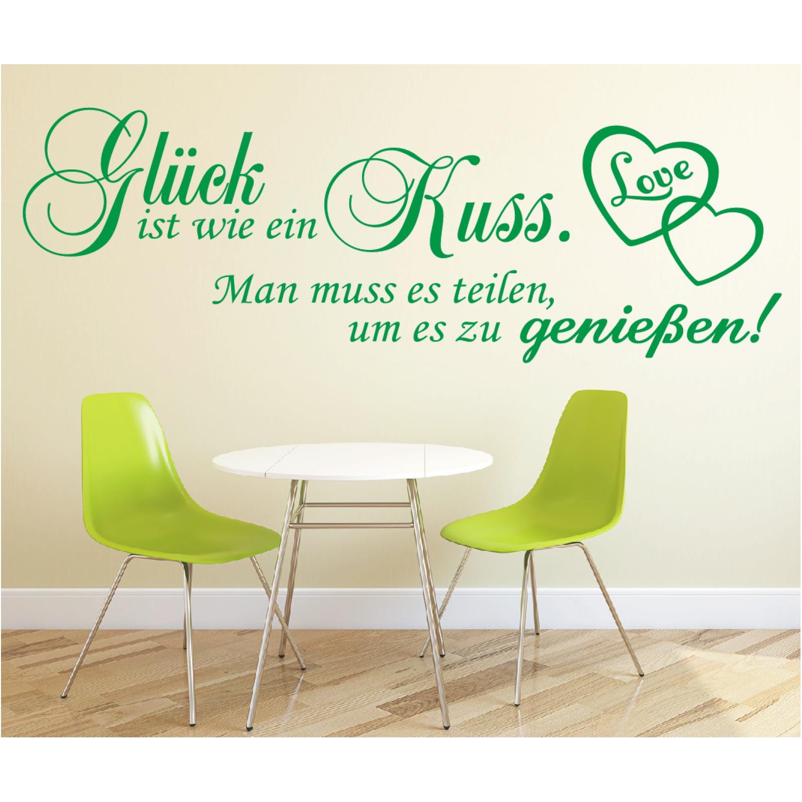 Spruch-WANDTATTOO-Glueck-ist-Kuss-geniessen-Wandsticker-Wandaufkleber-Sticker-2
