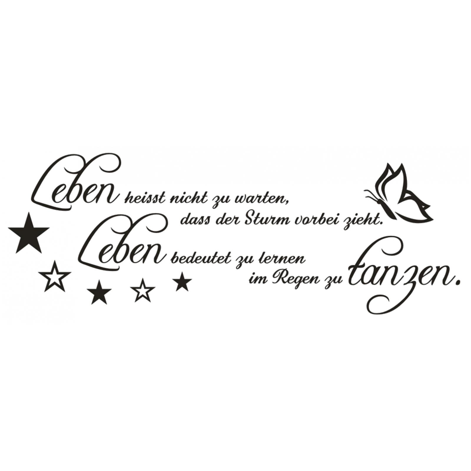 Wandtattoo-Spruch-Leben-Sturm-Regen-tanzen-Wandsticker-Wandaufkleber-Sticker-1 Indexbild 2