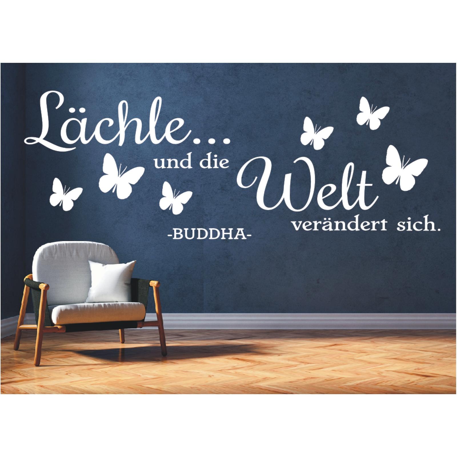 Wandtattoo Spruch Lachle Und Die Welt Buddha Zitat Wandaufkleber Sticker 0 Ebay