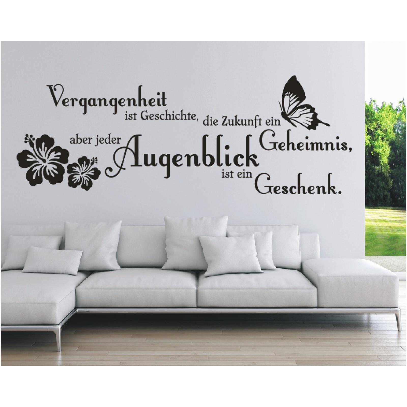 Wandtattoo Spruch Vergangenheit Ist Zukunft Augenblick Wandaufkleber Sticker 8 Ebay