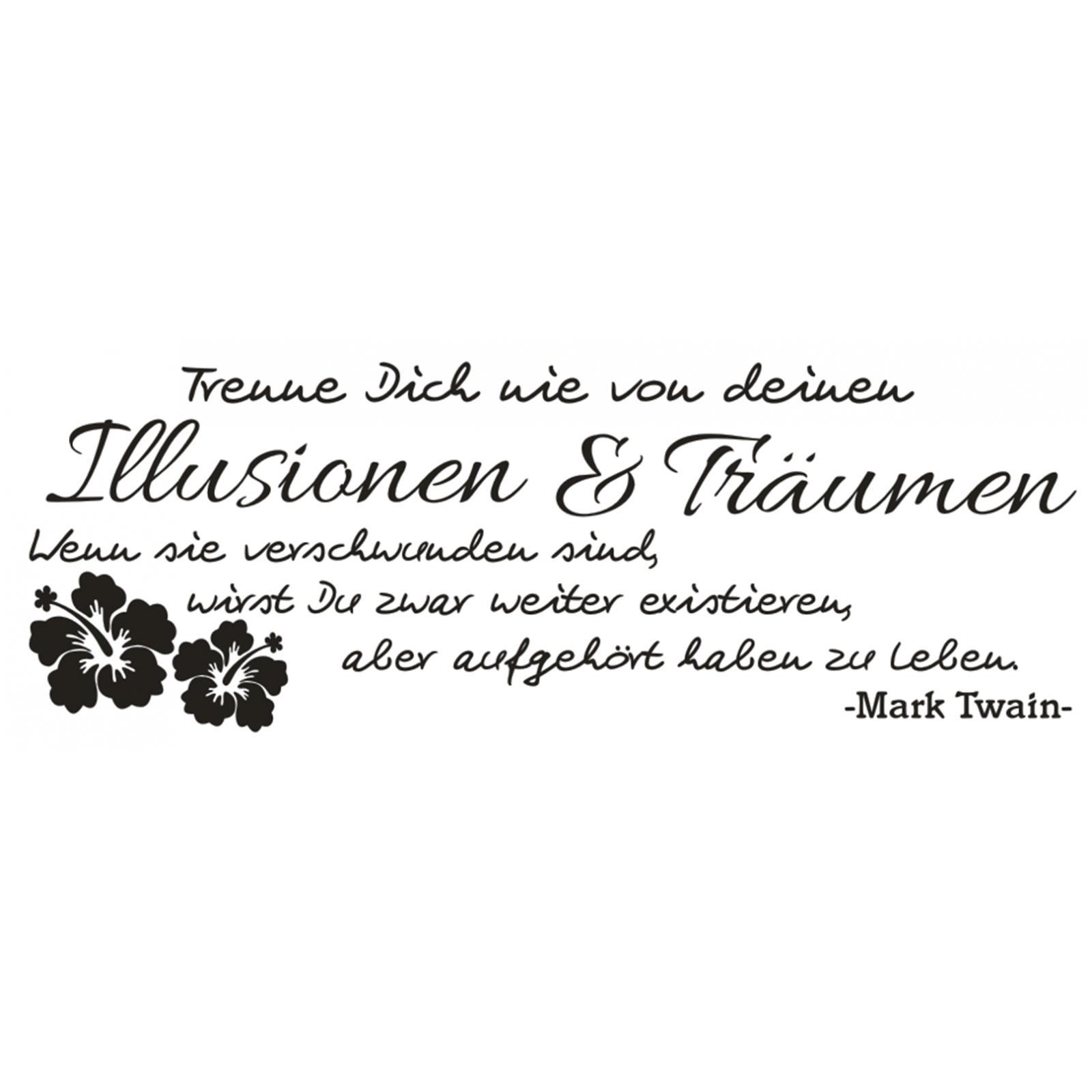 Spruch-WANDTATTOO-Illusionen-Traeumen-Leben-Twain-Zitat-Wandaufkleber-Sticker-6 Indexbild 2