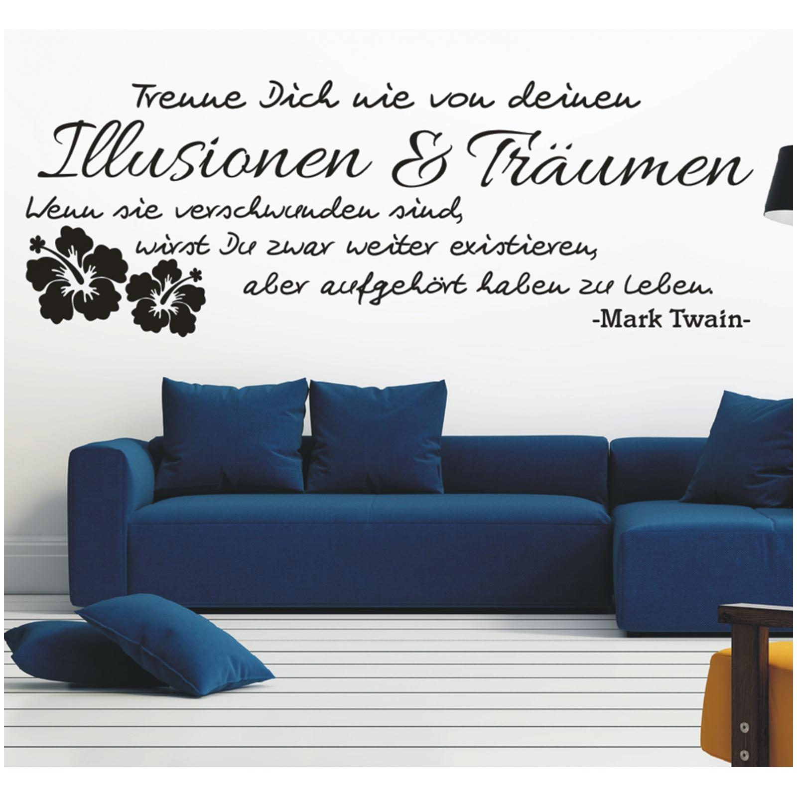 Spruch-WANDTATTOO-Illusionen-Traeumen-Leben-Twain-Zitat-Wandaufkleber-Sticker-6 Indexbild 3
