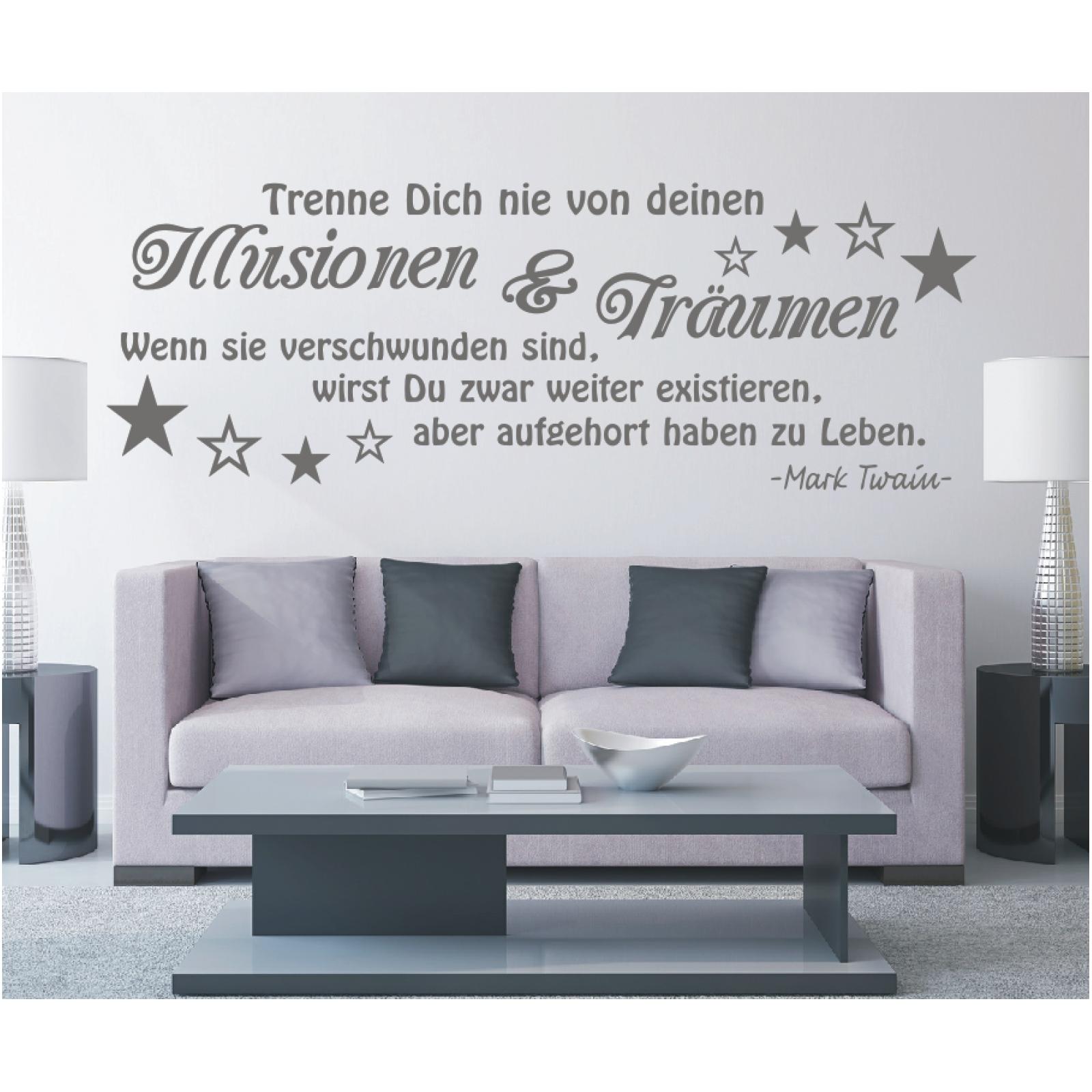 Wandtattoo-Spruch-Illusionen-Traeumen-Leben-Twain-Zitat-Wandaufkleber-Sticker-9 Indexbild 3