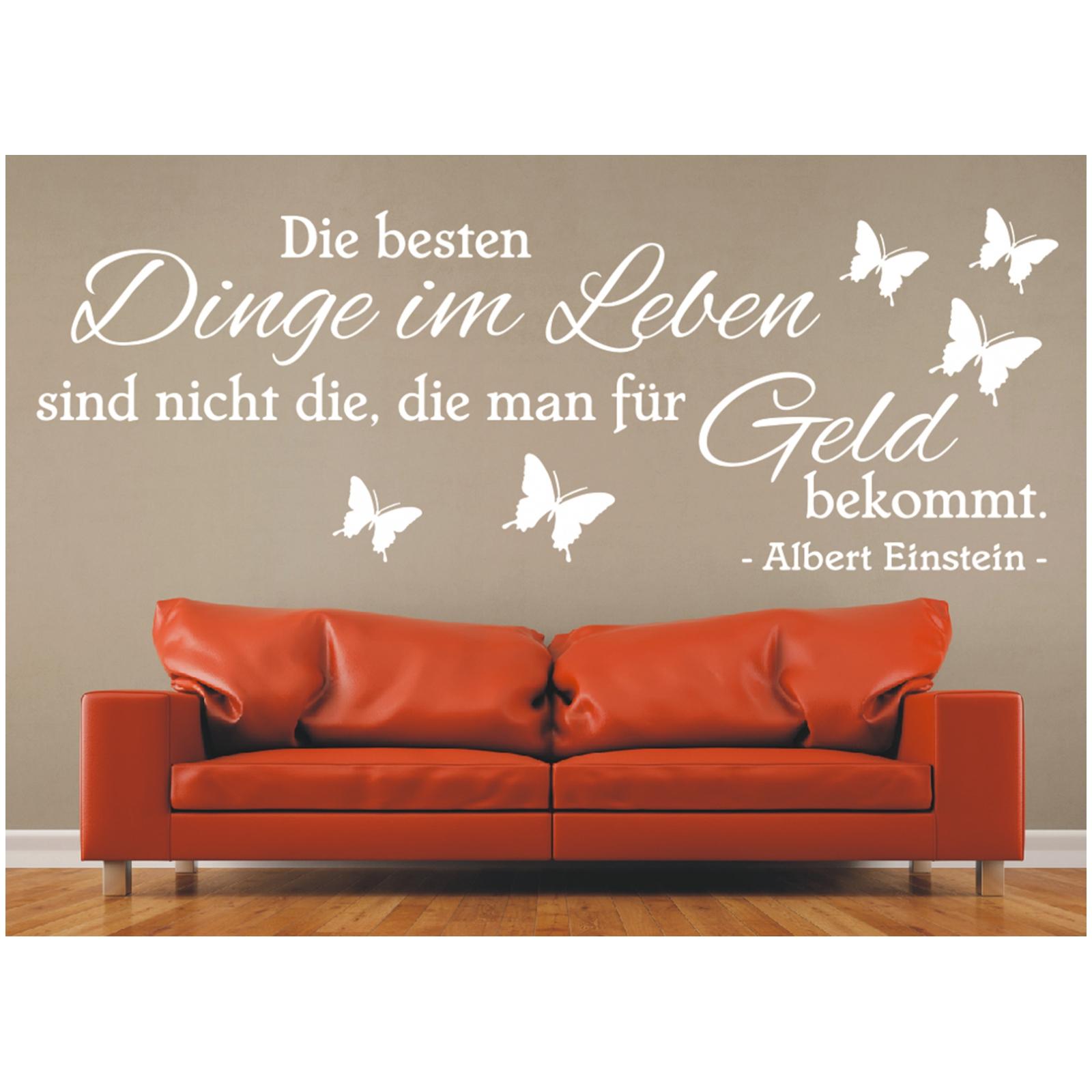 X2094 Wandtattoo Spruch Die besten Dinge im Leben Geld Zitat Einstein Sticker