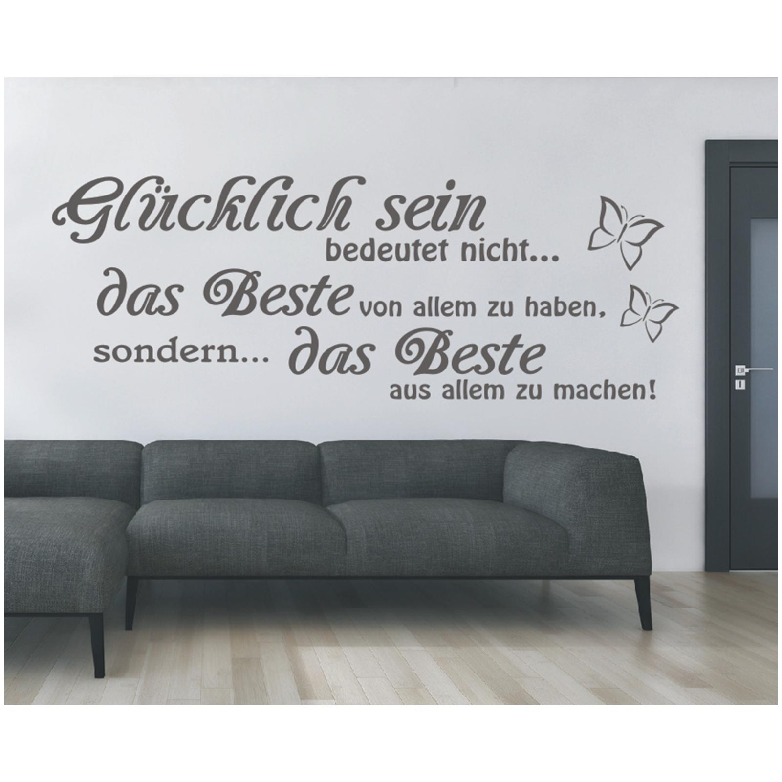Wandtattoo-Spruch-Gluecklich-sein-das-Beste-Wandsticker-Wandaufkleber-Sticker-0 Indexbild 3