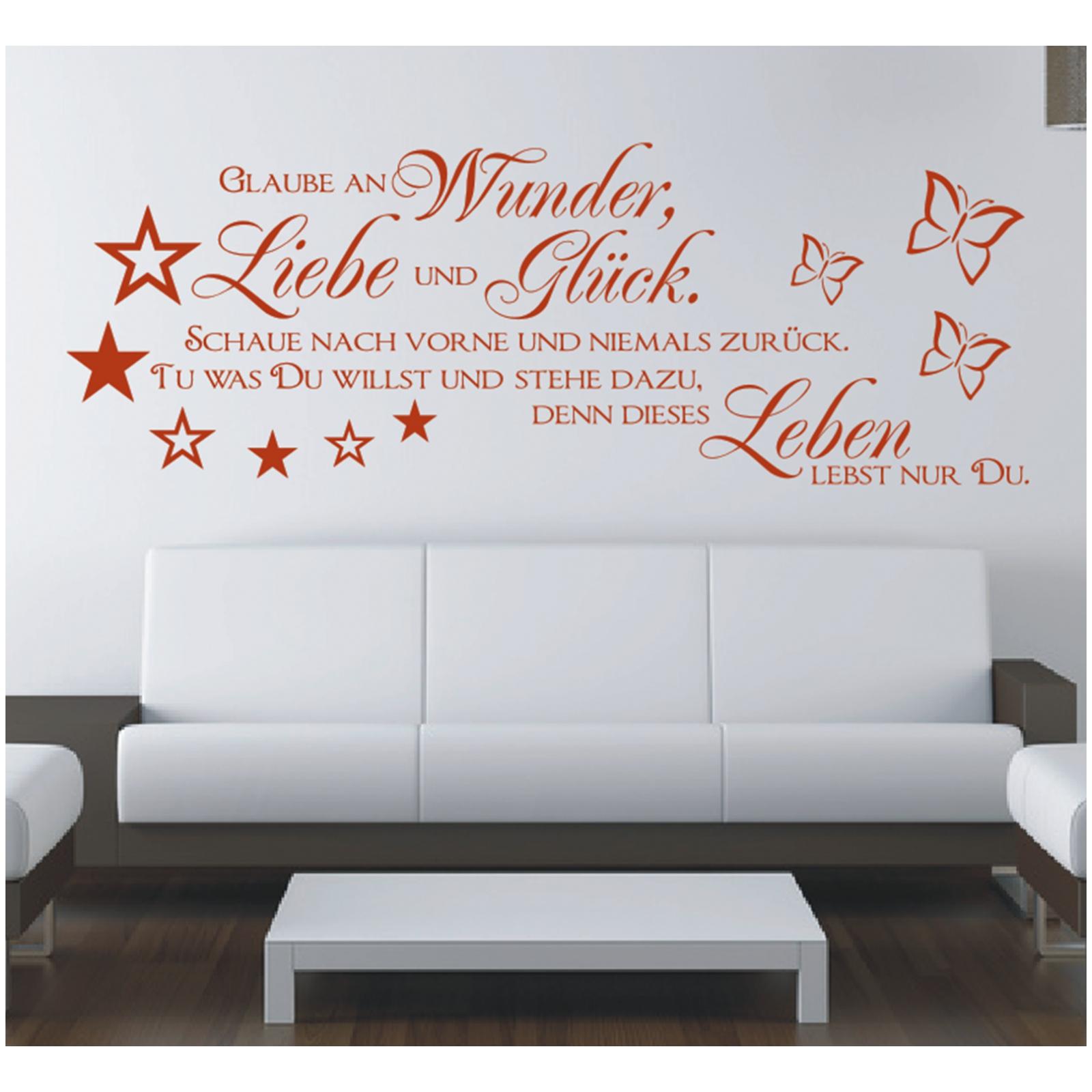 wandtattoo spruch glaube wunder liebe gl ck wandsticker wandaufkleber sticker 1 ebay. Black Bedroom Furniture Sets. Home Design Ideas