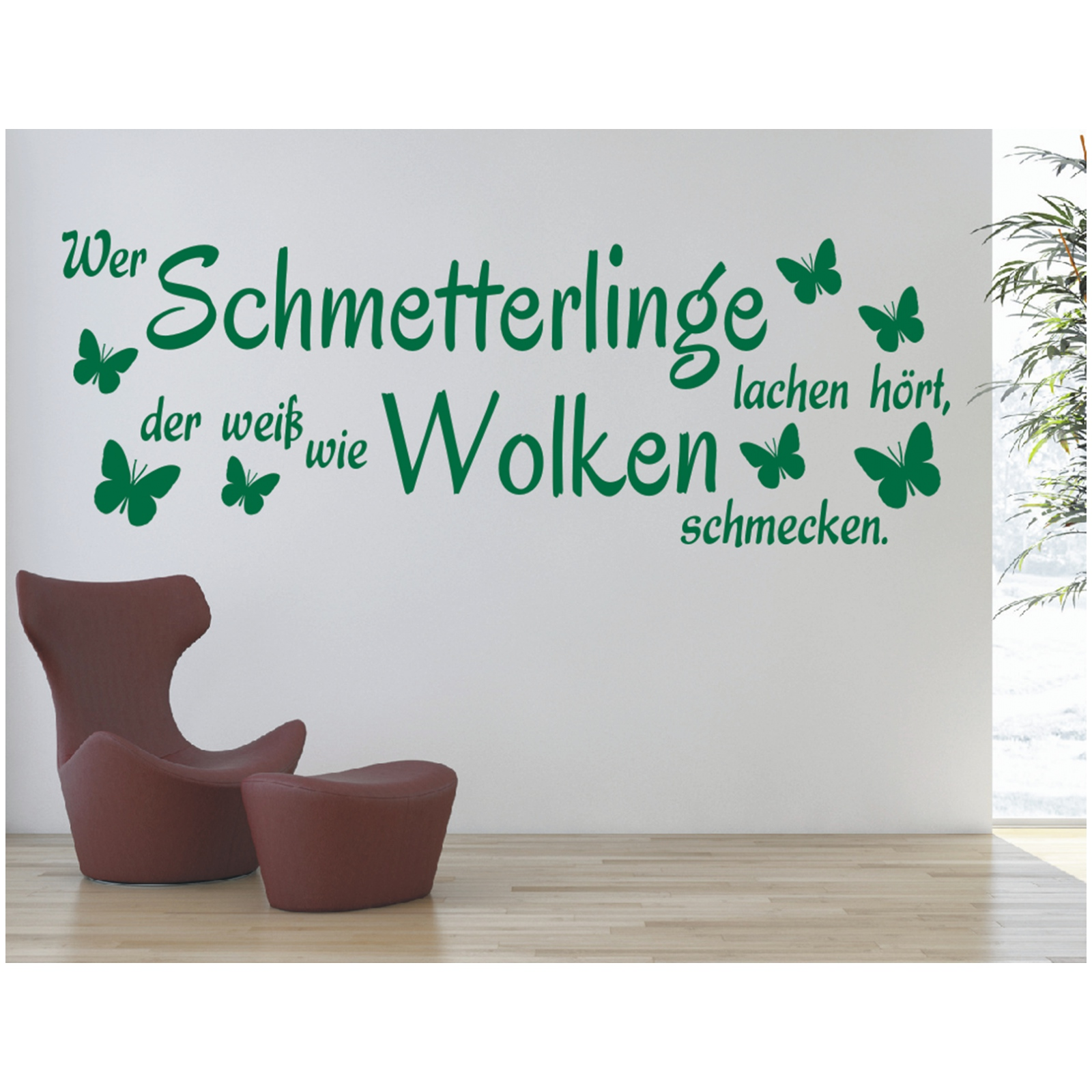X932 Wandtattoo Spruch Wer Schmetterlinge Lachen Hort Wandsticker Wandaufkleber Ebay