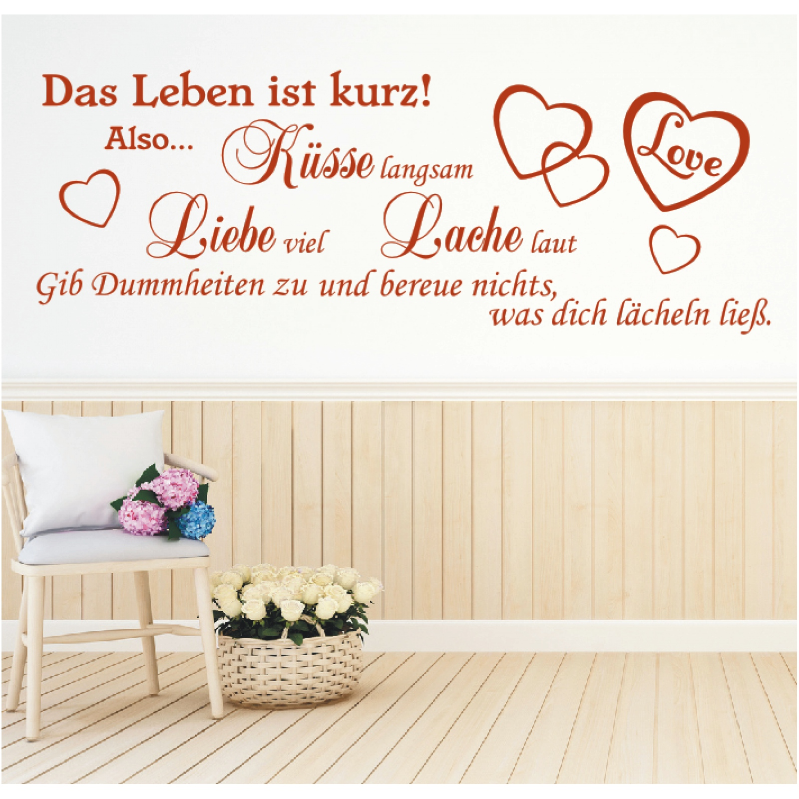 Wandtattoo Spruch Leben Küsse Liebe Lache Wandsticker Wandaufkleber ...