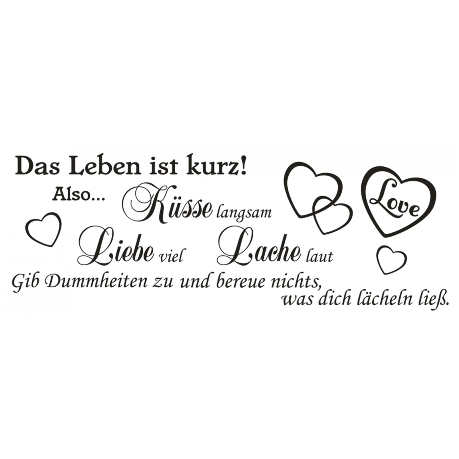 lebe liebe lache sprüche Wandtattoo Spruch Leben Küsse Liebe Lache Wandsticker  lebe liebe lache sprüche