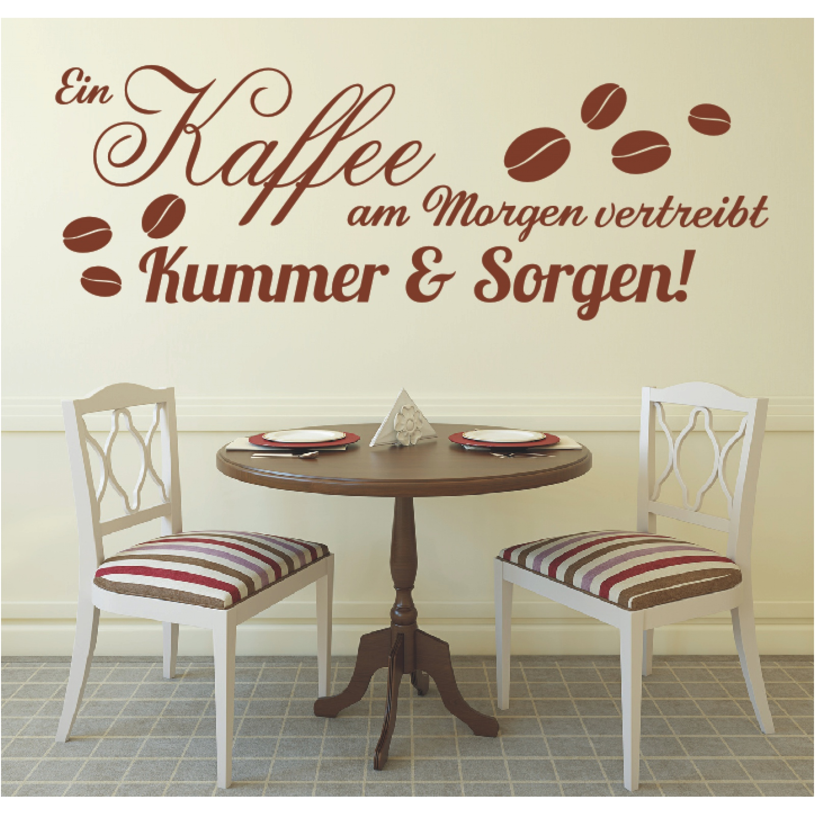 Wandtattoo Spruch Kaffee am Morgen Cafe Wandsticker Wandaufkleber ...