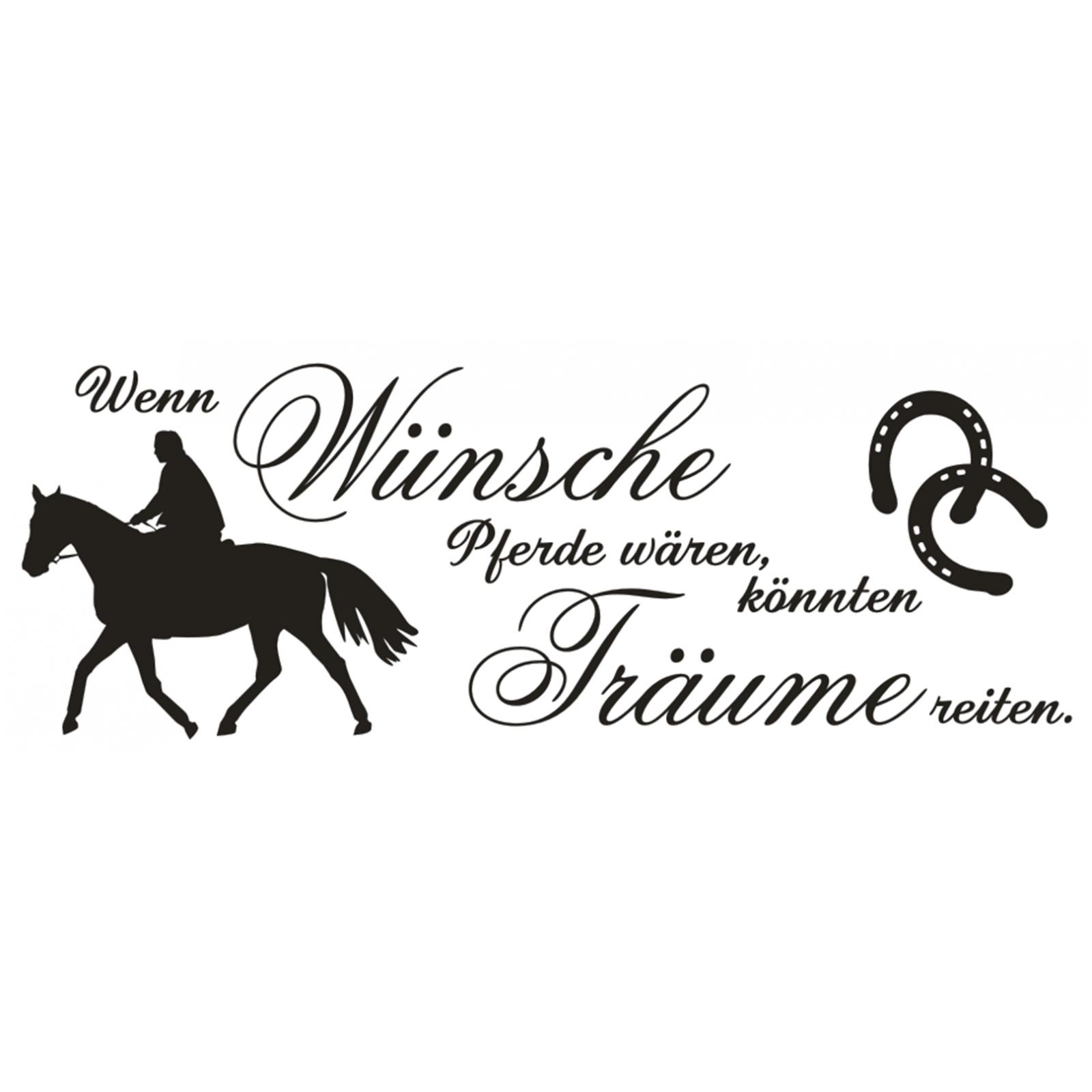 wandtattoo spruch w nsche pferde tr ume reiten wandaufkleber wandsticker 3 ebay. Black Bedroom Furniture Sets. Home Design Ideas