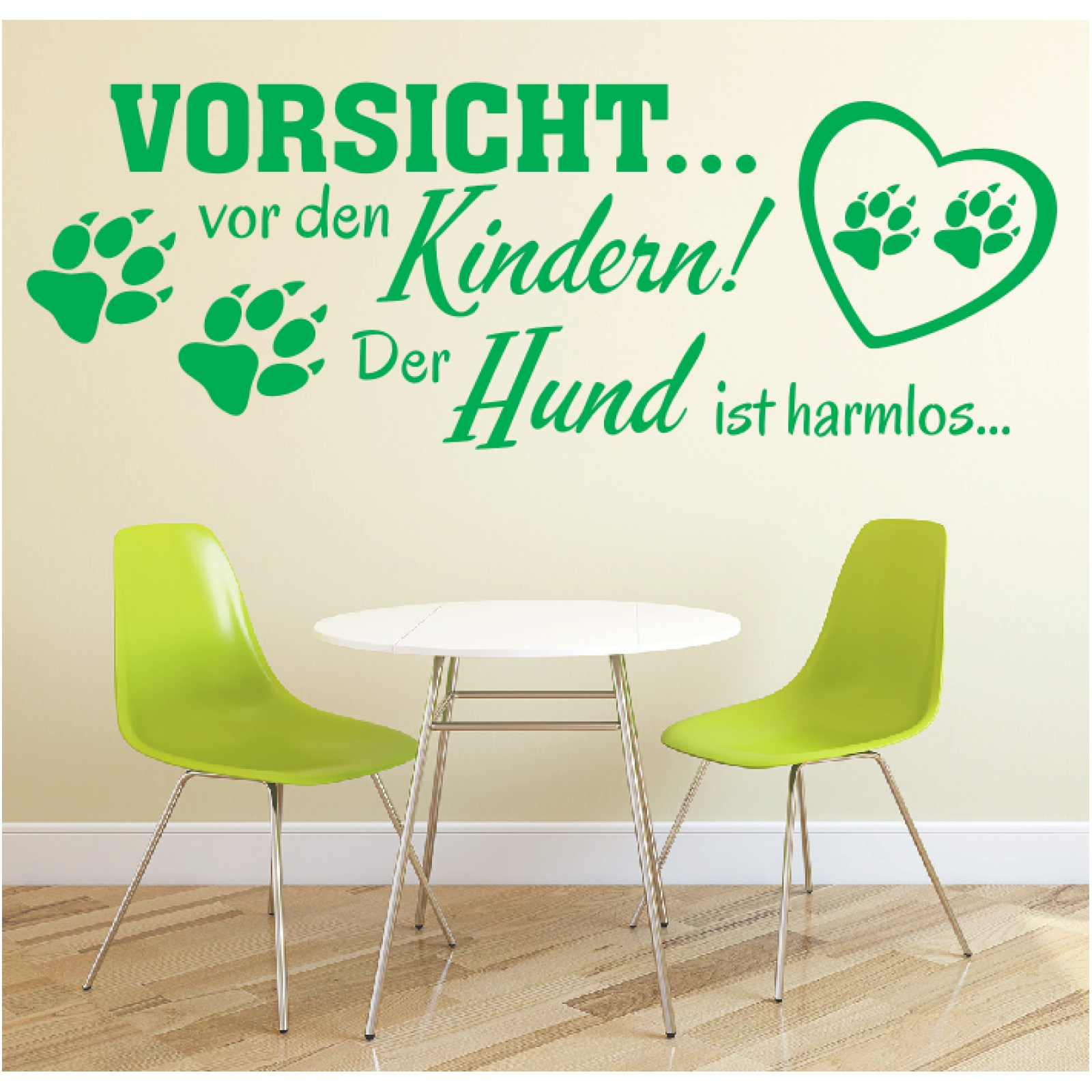 Wandtattoo-Spruch-Vorsicht-vor-Kindern-Hund-harmlos-Wandaufkleber-Wandsticker-2