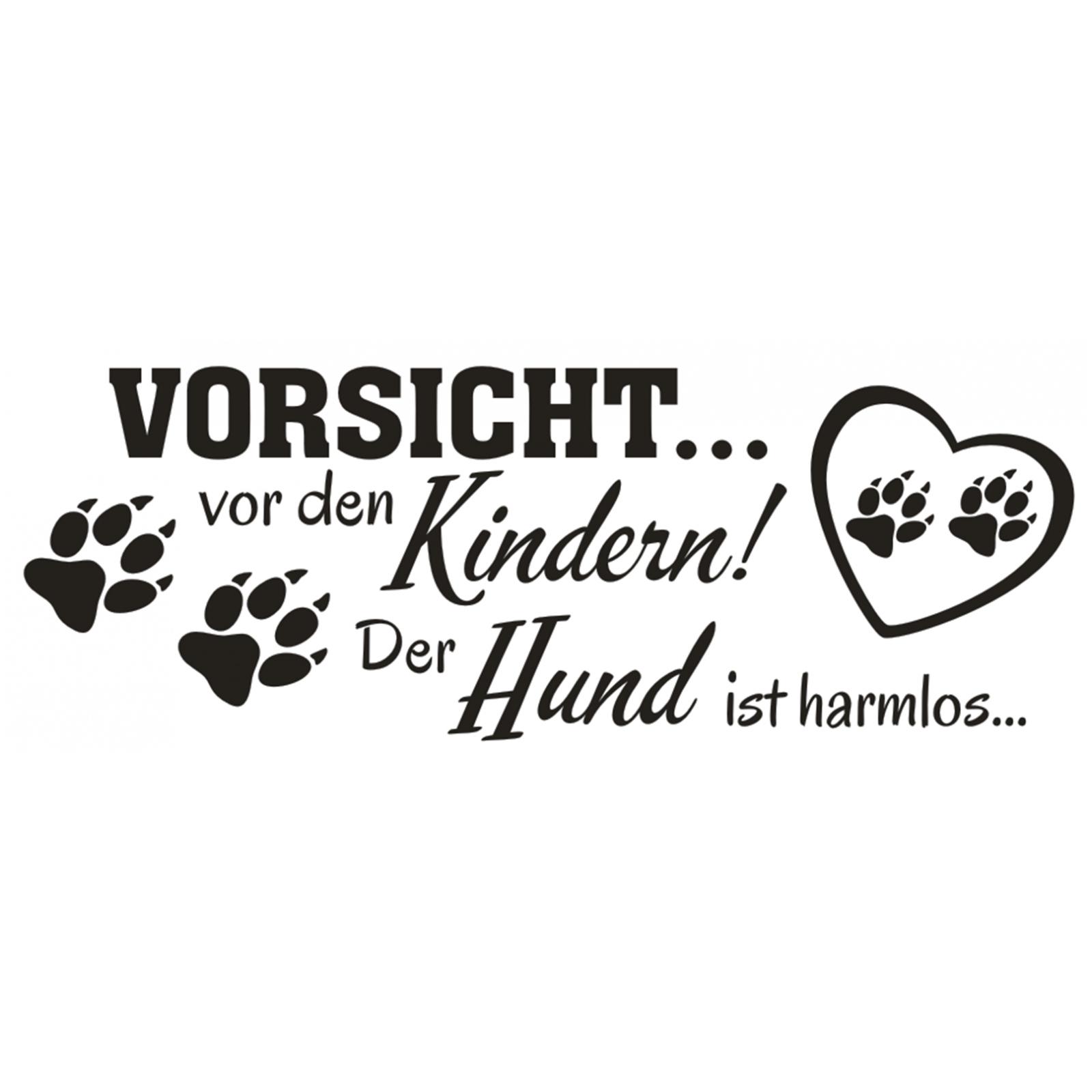 Wandtattoo-Spruch-Vorsicht-vor-Kindern-Hund-harmlos-Wandaufkleber-Wandsticker-2 Indexbild 2