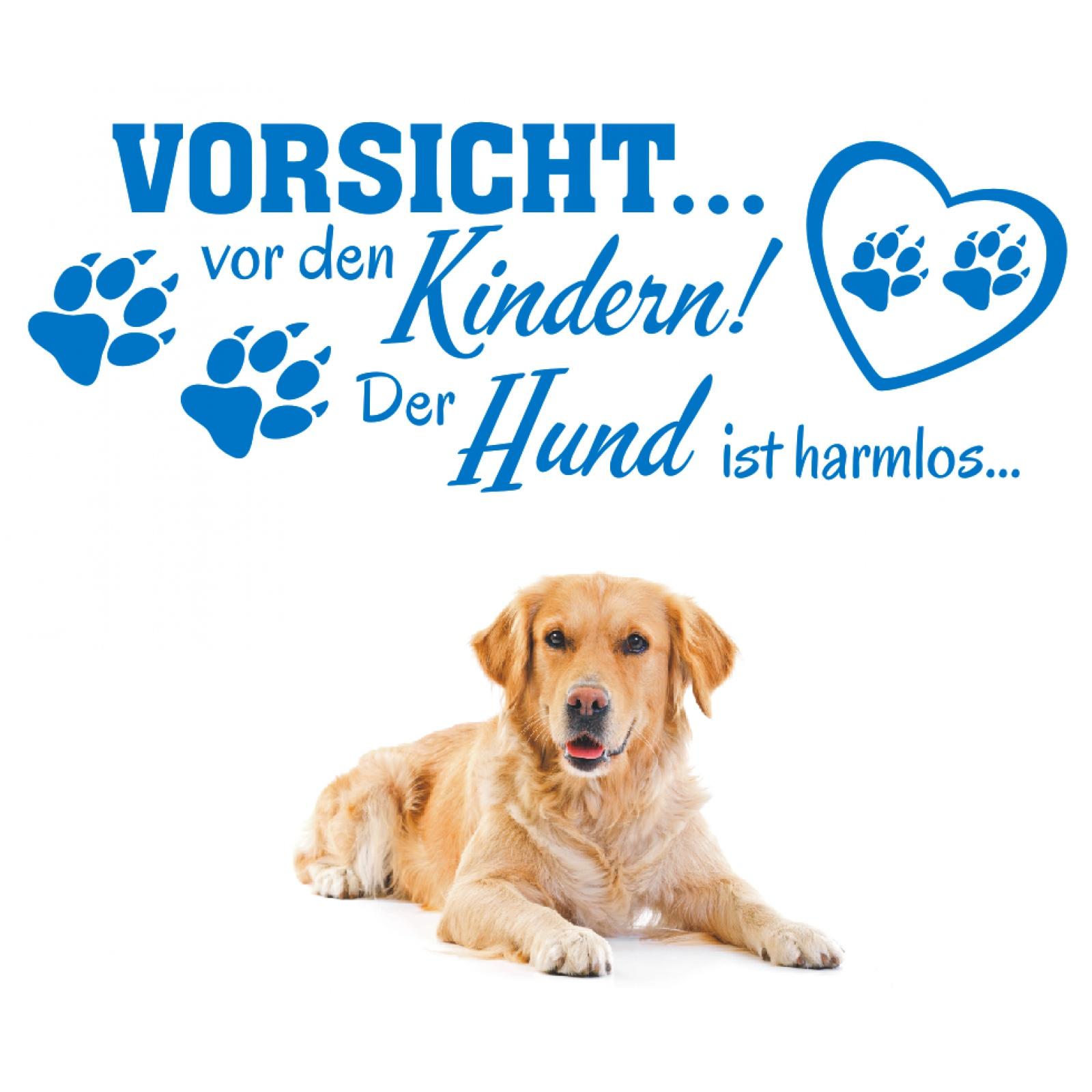 Wandtattoo-Spruch-Vorsicht-vor-Kindern-Hund-harmlos-Wandaufkleber-Wandsticker-2 Indexbild 3
