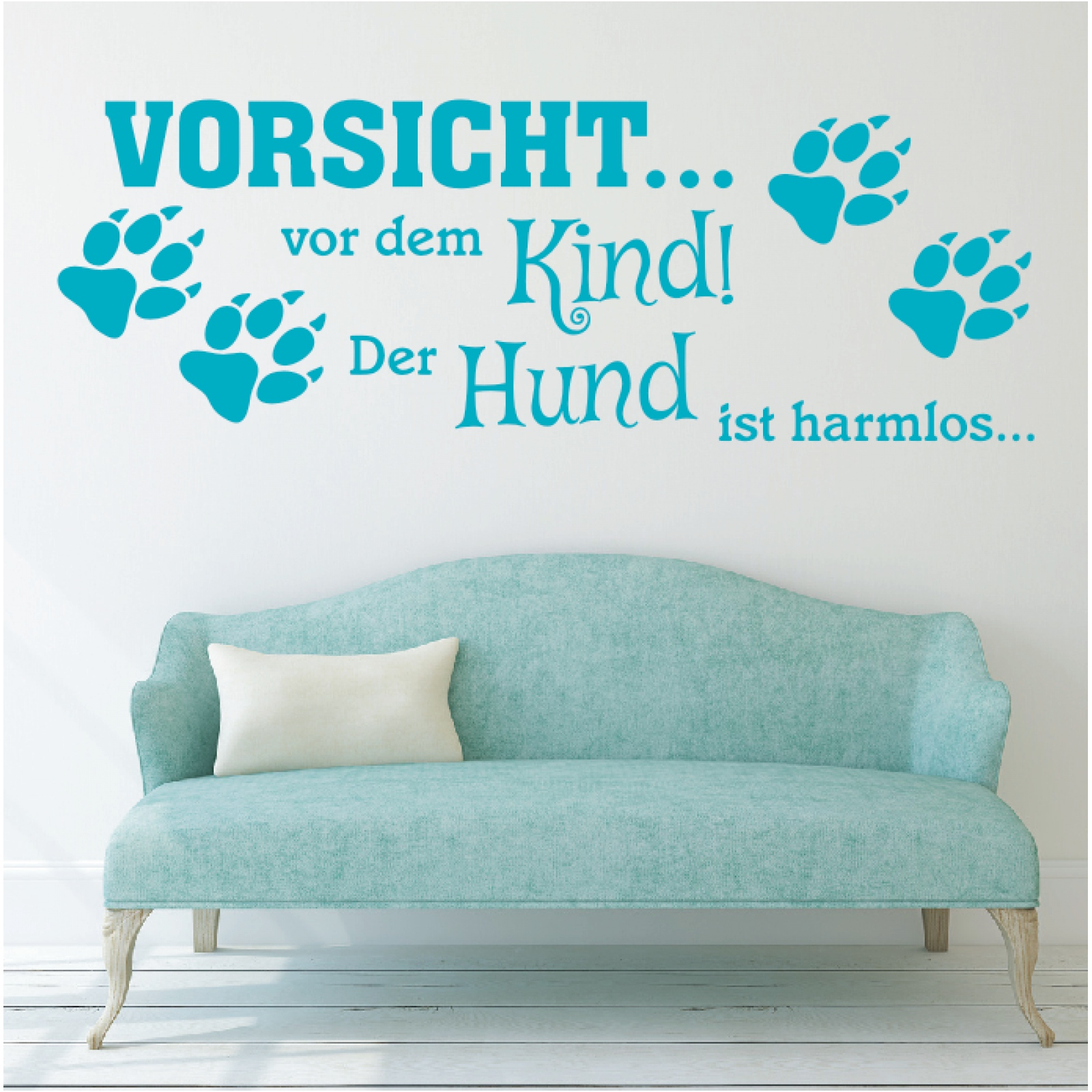 wandtattoo spruch vorsicht vor kind hund harmlos wandaufkleber wandsticker 2 ebay. Black Bedroom Furniture Sets. Home Design Ideas