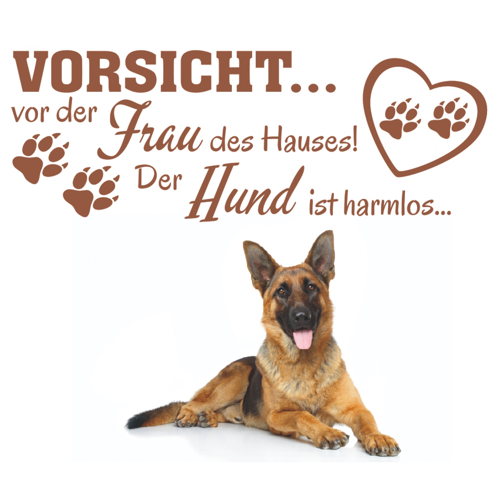 wandtattoo spruch vorsicht vor frau hund harmlos wandaufkleber wandsticker 1 ebay. Black Bedroom Furniture Sets. Home Design Ideas