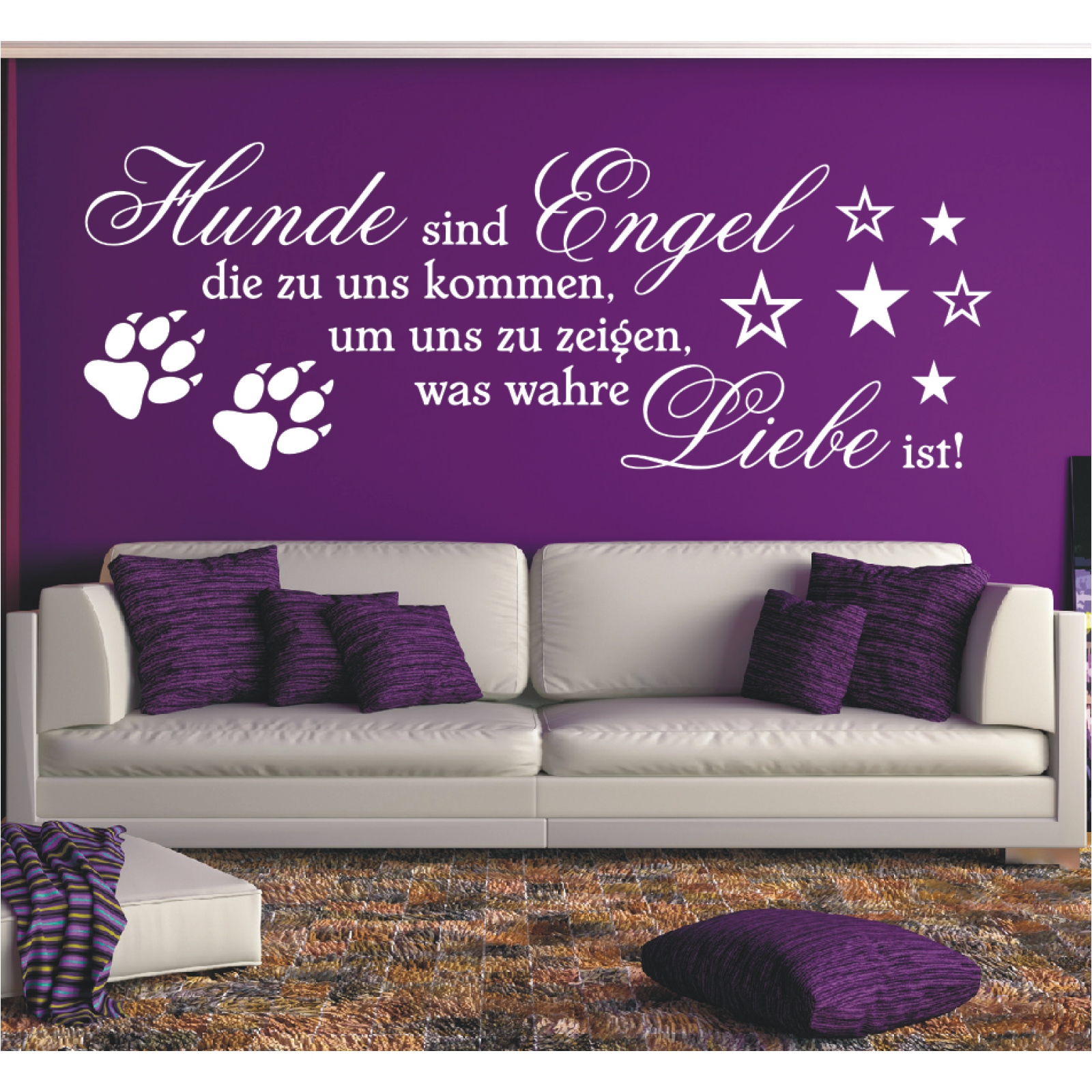 wandtattoo spruch hunde engel wahre liebe sticker wandaufkleber wandsticker 2 ebay. Black Bedroom Furniture Sets. Home Design Ideas