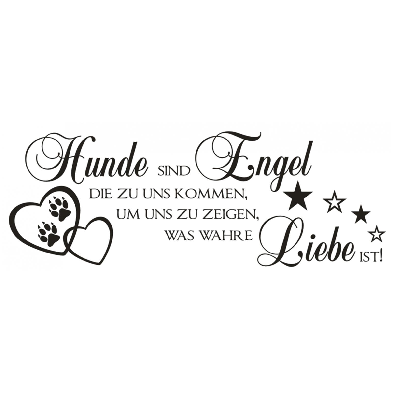 Wandtattoo-Spruch-Hunde-Engel-wahre-Liebe-Sticker-Wandaufkleber-Wandsticker-3 Indexbild 2