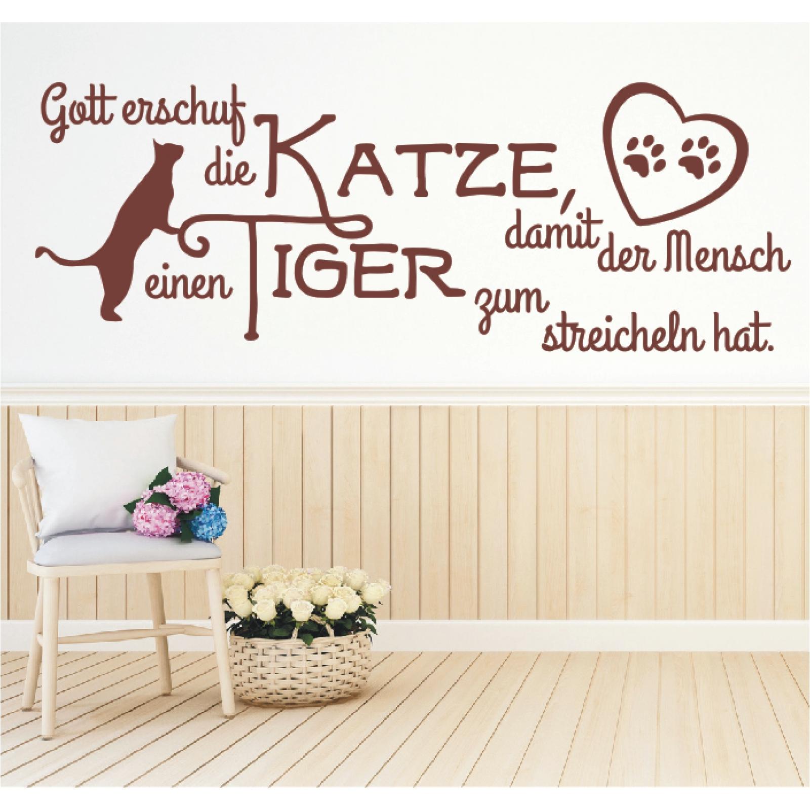Wandtattoo Spruch Gott Katze Mensch Tiger Wandsticker ...