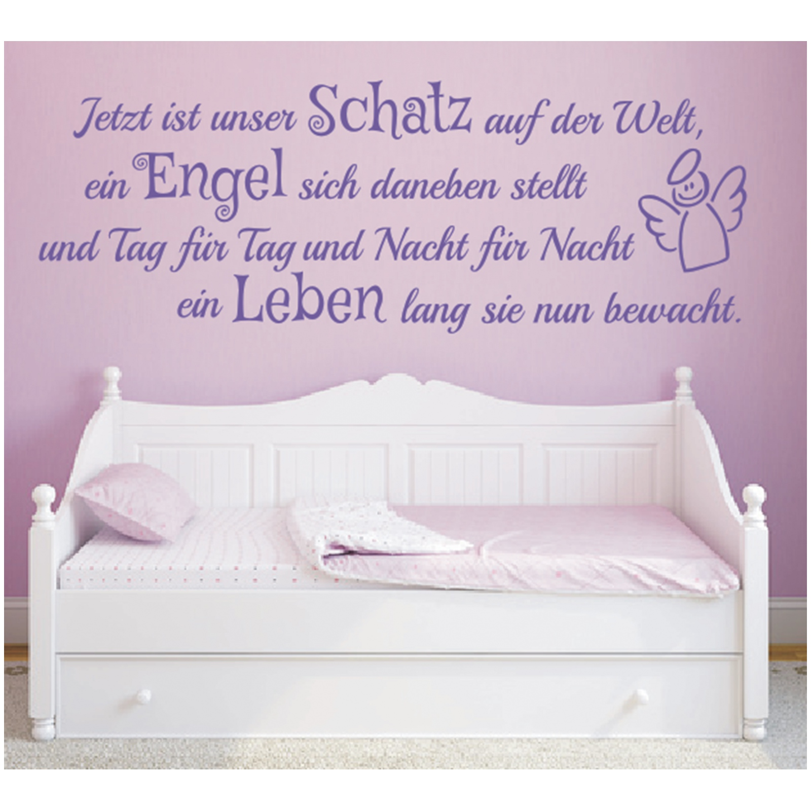 Wandtattoo Spruch Mädchen Geburt Engel Kind Leben ...