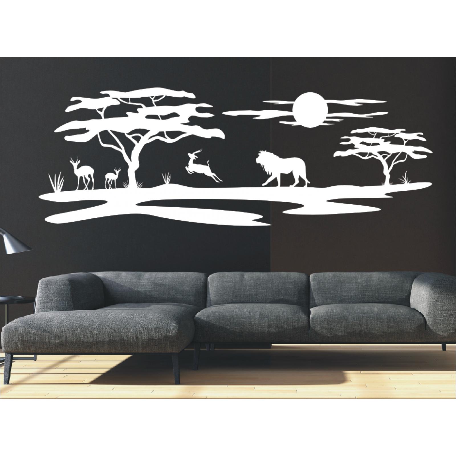 Landschaft wandtattoo l we afrika affenbrotbaum savanne for Wandtattoo lowe