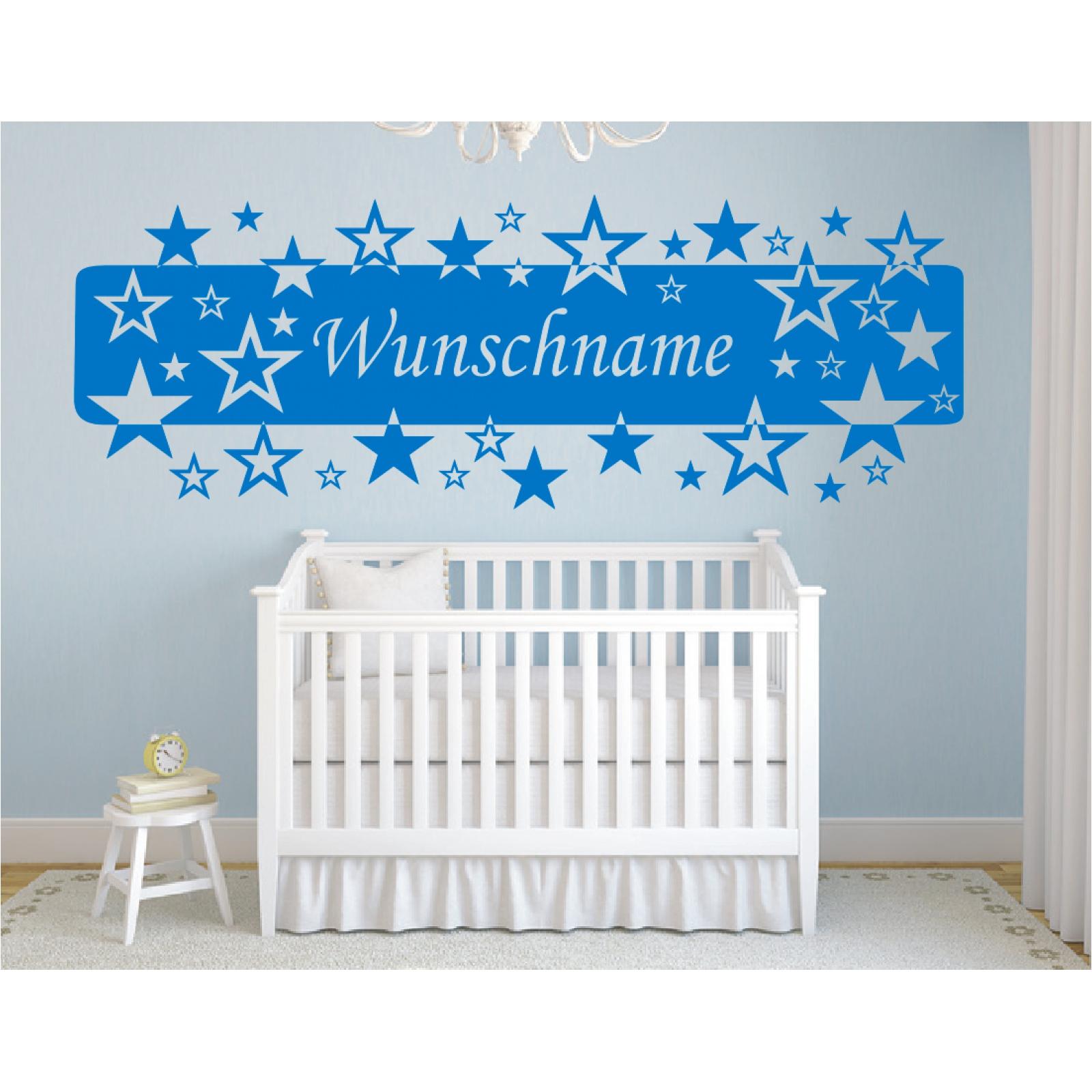 Wandtattoo Banner Name Sterne Kinder Wunschname Wunschtext Wandaufkleber Stick2
