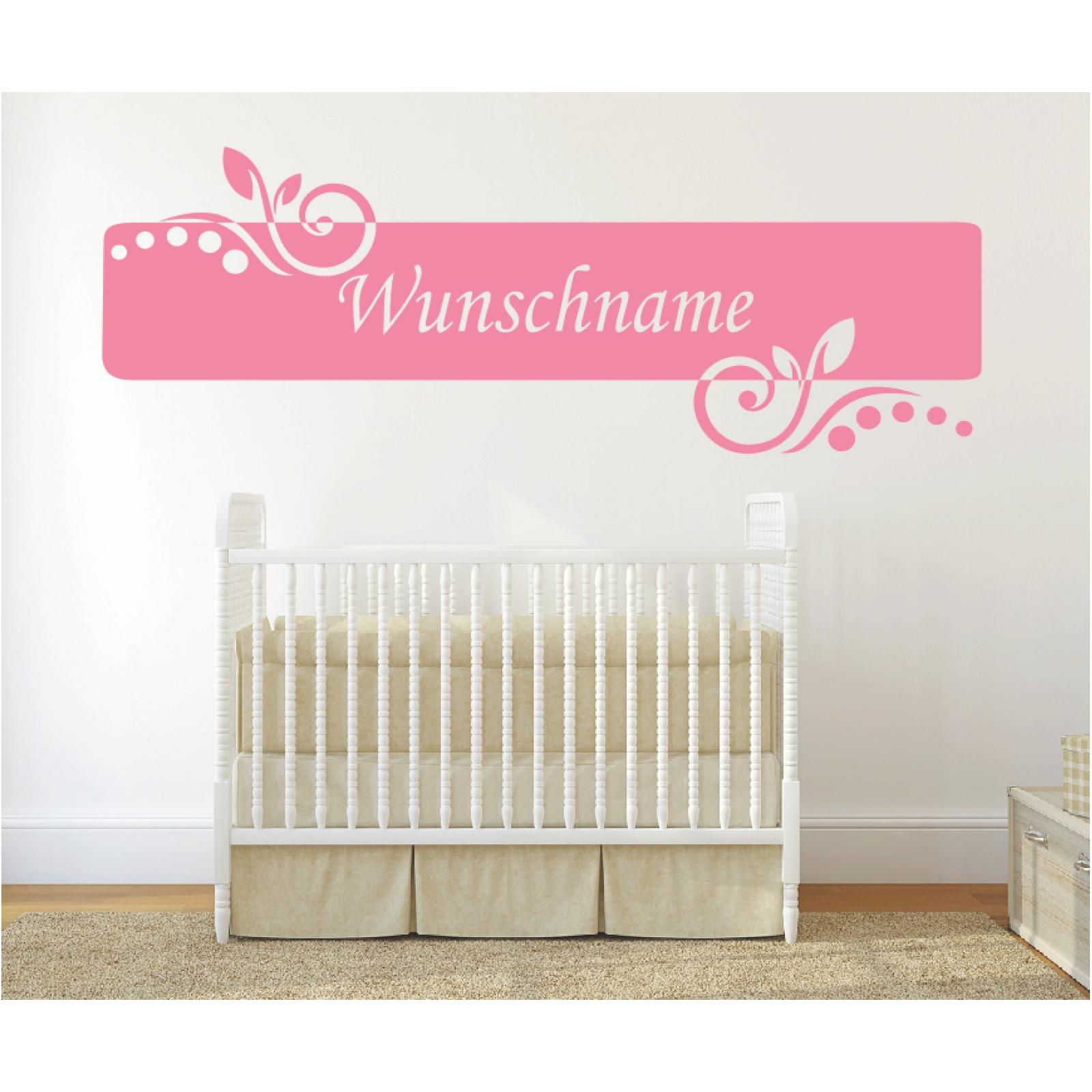 Wandtattoo-Banner-Name-Blume-Kinder-Wunschname-Wunschtext-Sticker-Wandaufkleber