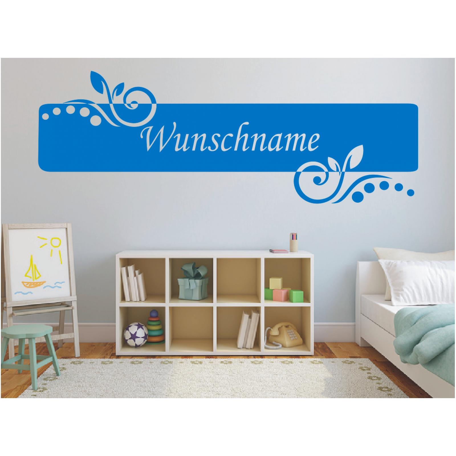 Wandtattoo-Banner-Name-Blume-Kinder-Wunschname-Wunschtext-Sticker-Wandaufkleber Indexbild 4